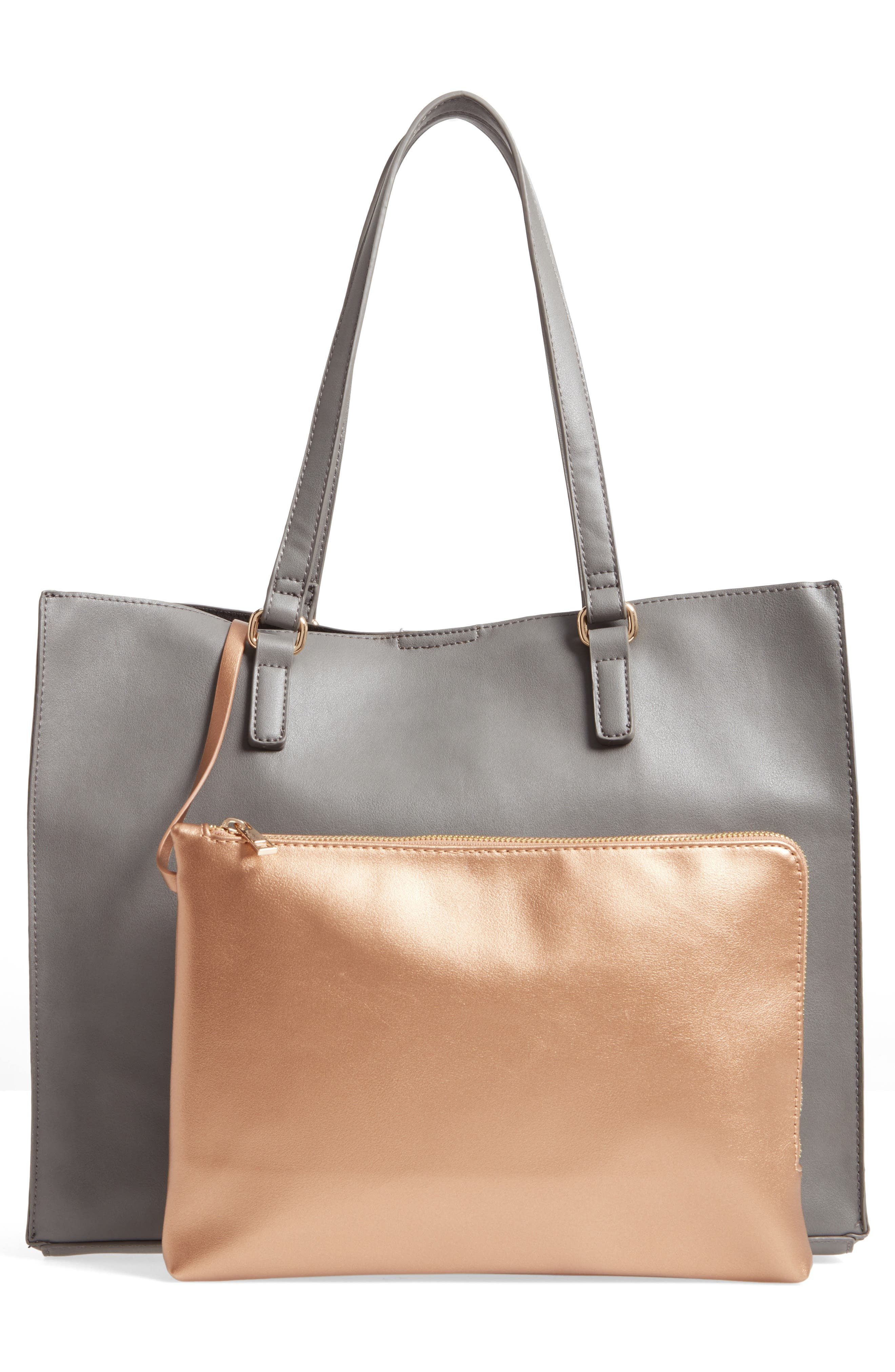 Faux Leather Tote & Pouch,                             Alternate thumbnail 2, color,                             Grey Multi