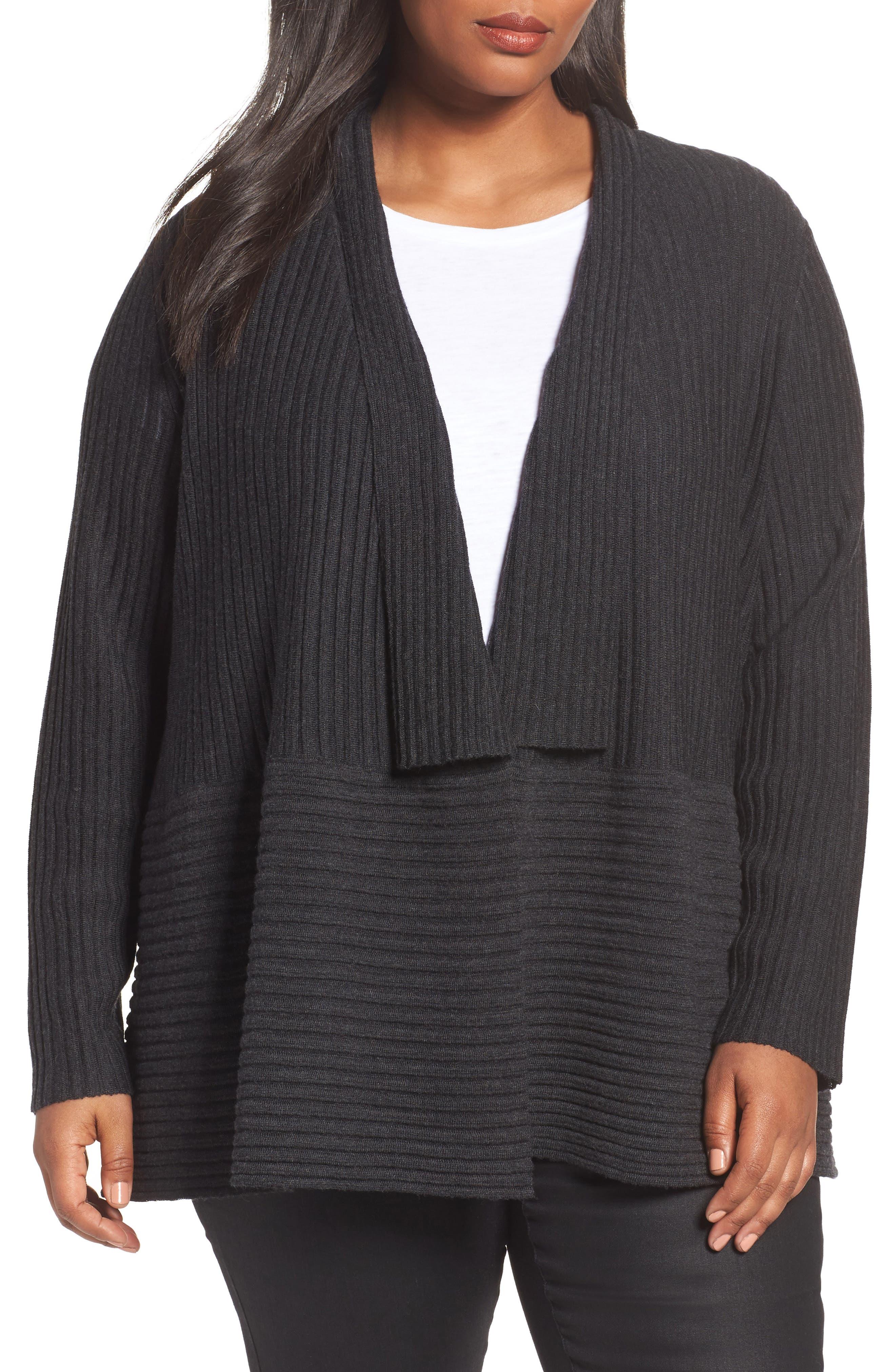 Eileen Fisher Ribbed Merino Wool Long Cardigan (Plus Size)