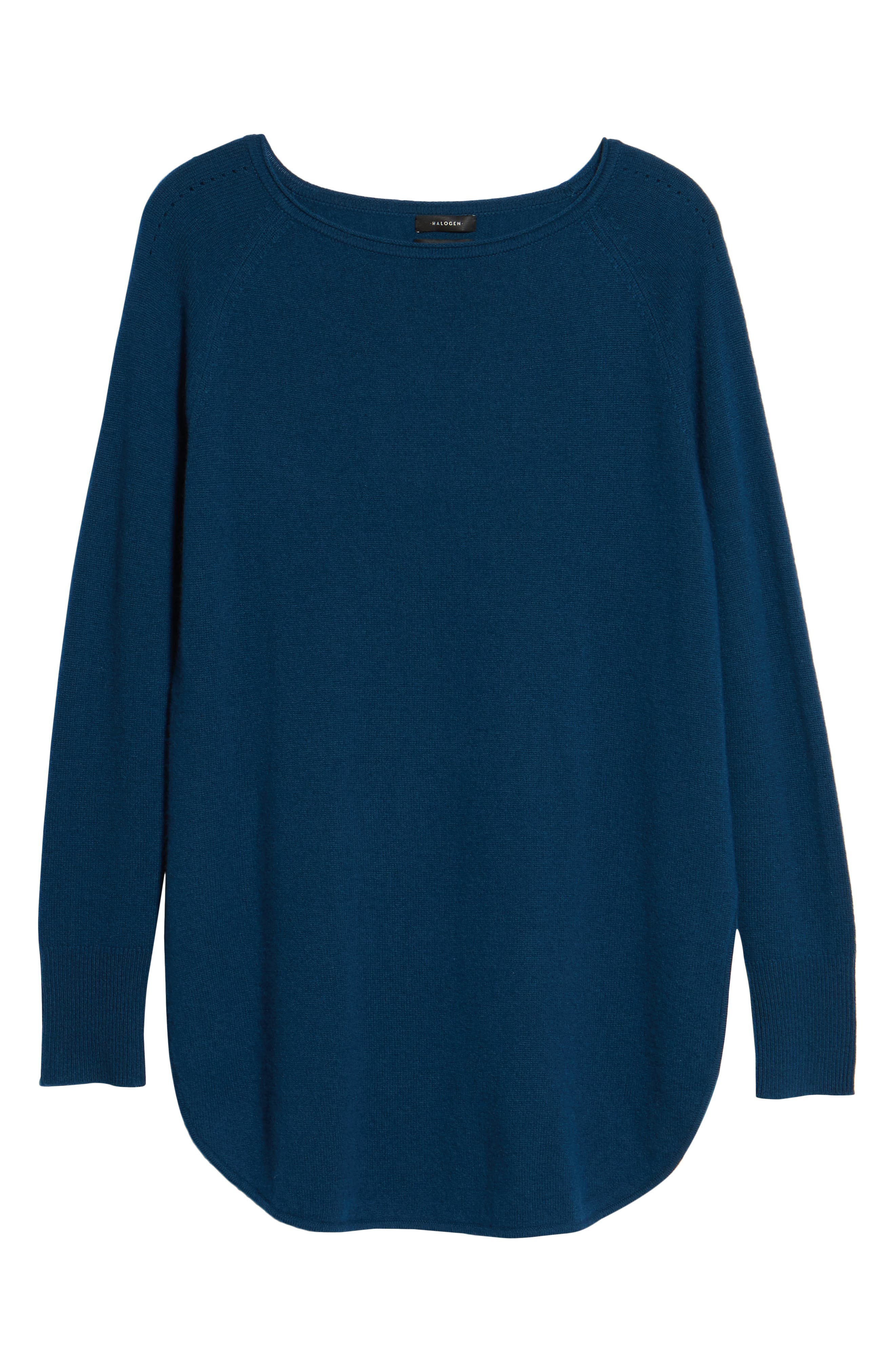 Alternate Image 6  - Halogen® Shirttail Wool & Cashmere Boatneck Tunic (Regular & Petite)