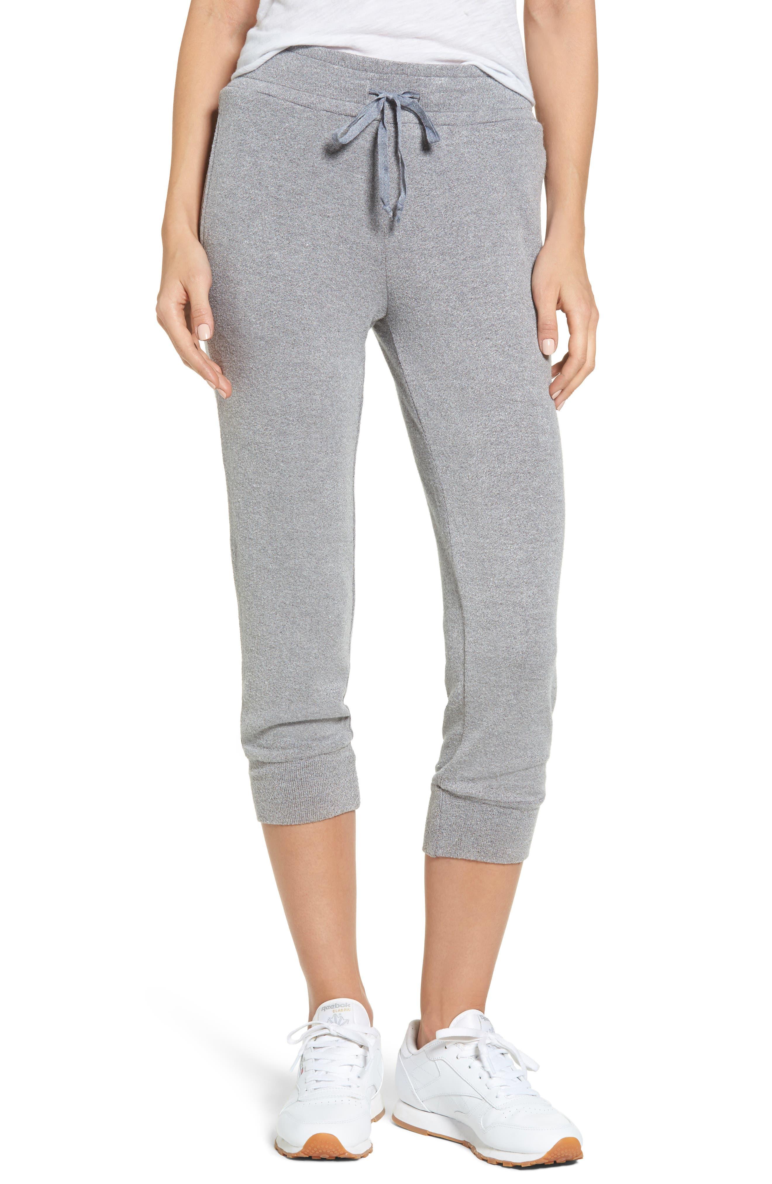 Flint Fleece Crop Jogger Pants,                         Main,                         color, Heather Grey