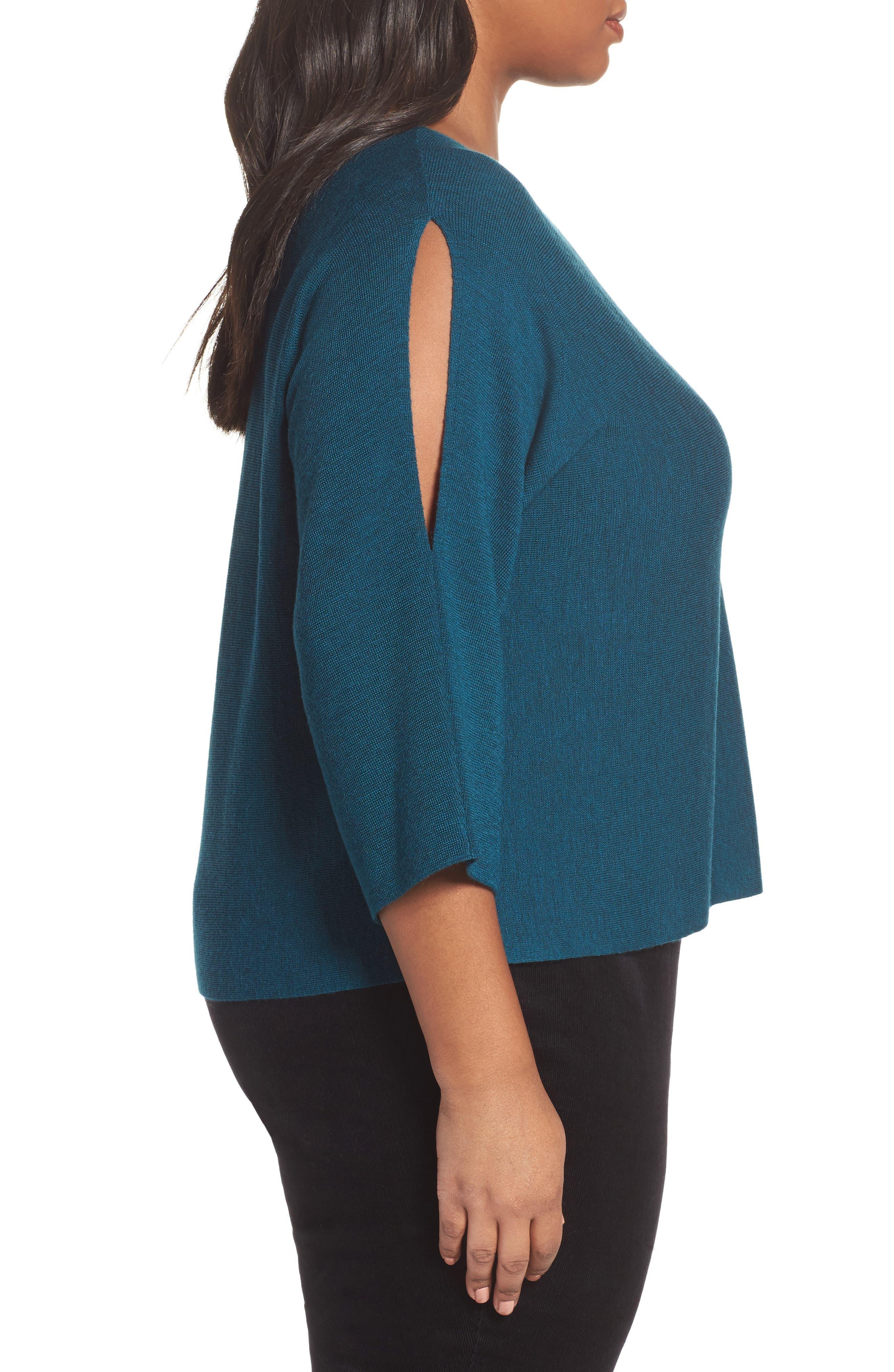 Alternate Image 3  - Eileen Fisher Crop Merino Wool Sweater (Plus Size)