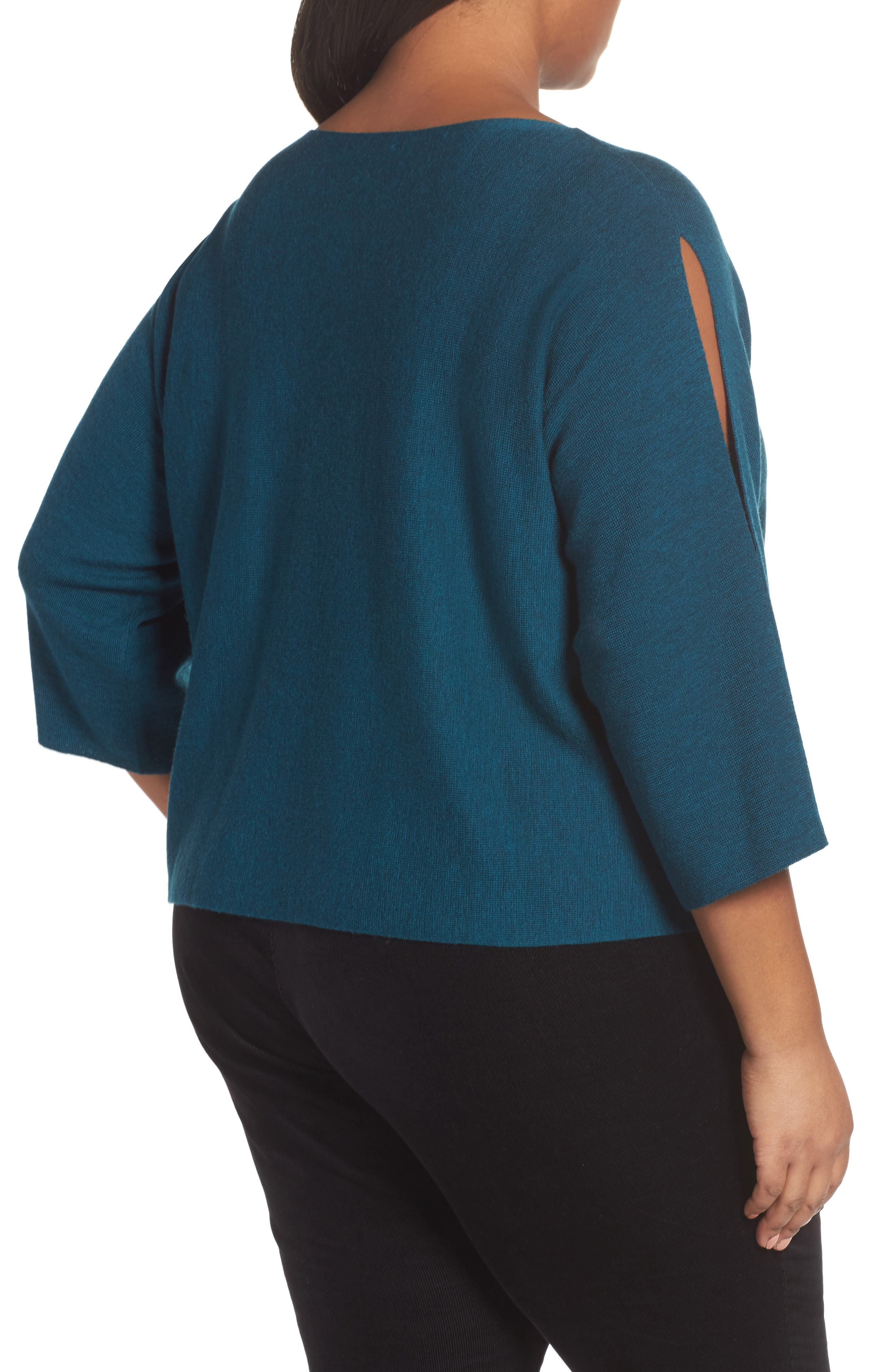Alternate Image 2  - Eileen Fisher Crop Merino Wool Sweater (Plus Size)