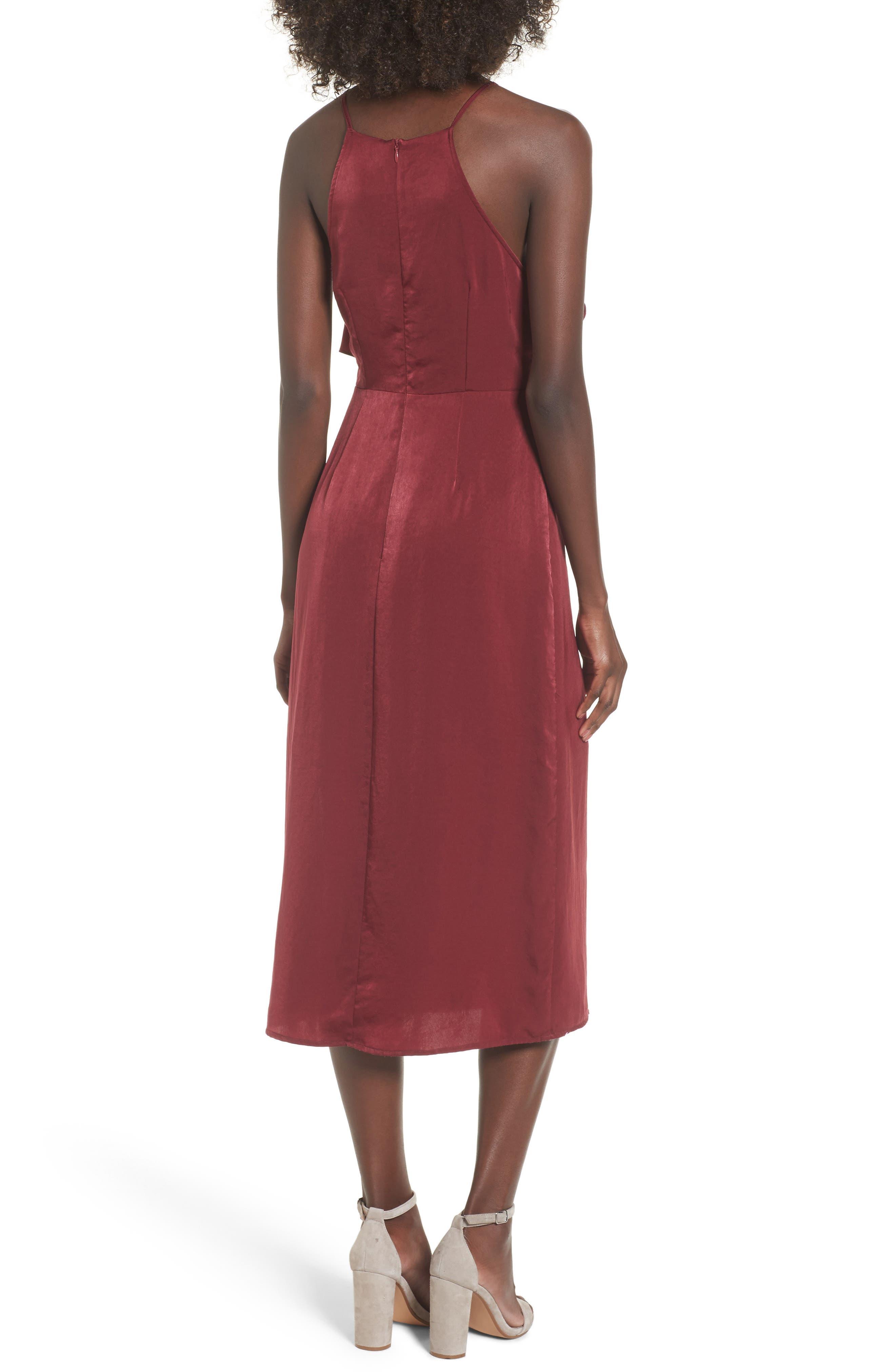 Ruffle Neck Satin Midi Dress,                             Alternate thumbnail 2, color,                             Burgundy