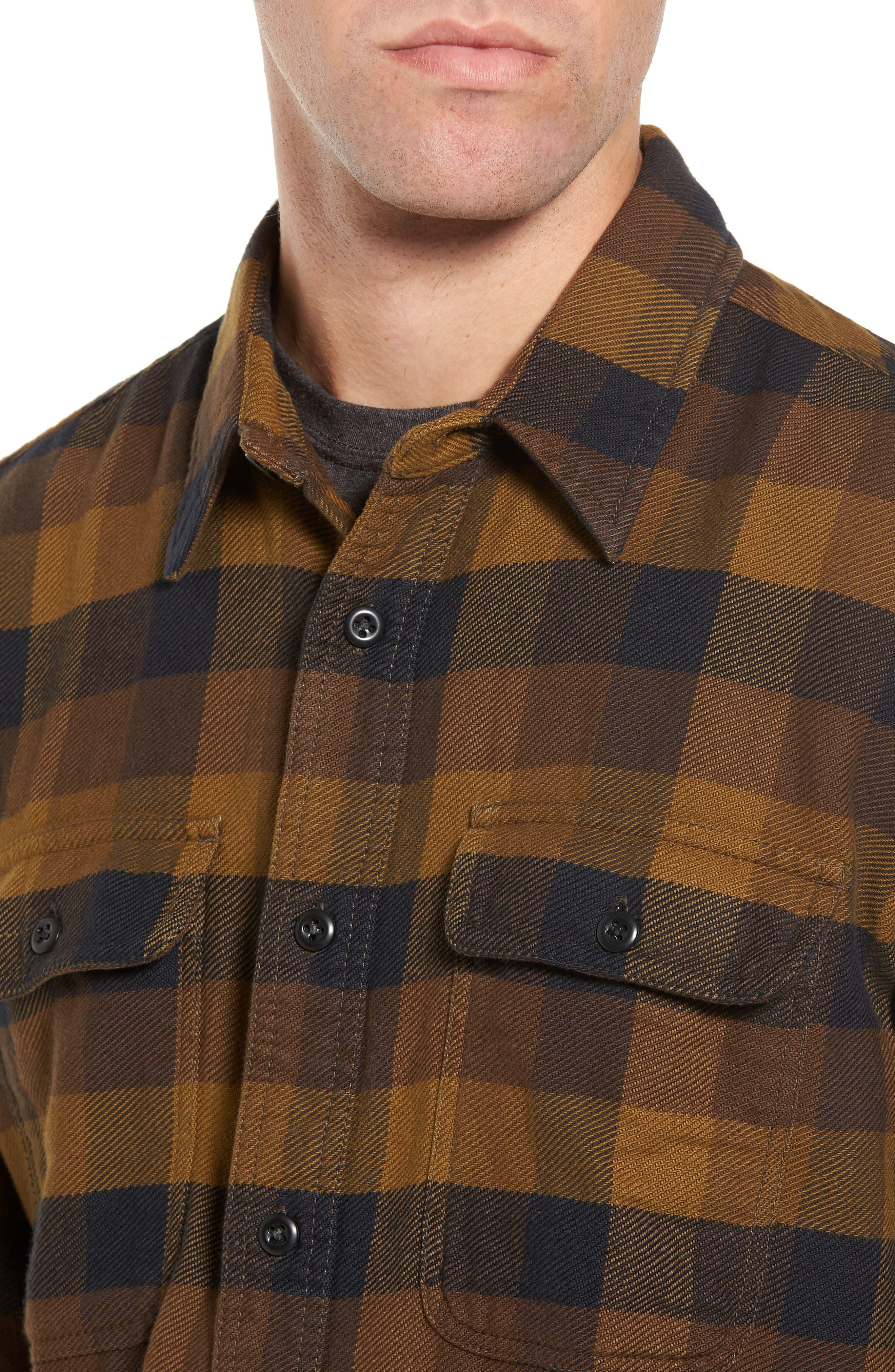 'Vintage Flannel' Regular Fit Plaid Cotton Shirt,                             Alternate thumbnail 4, color,                             Brown/ Navy