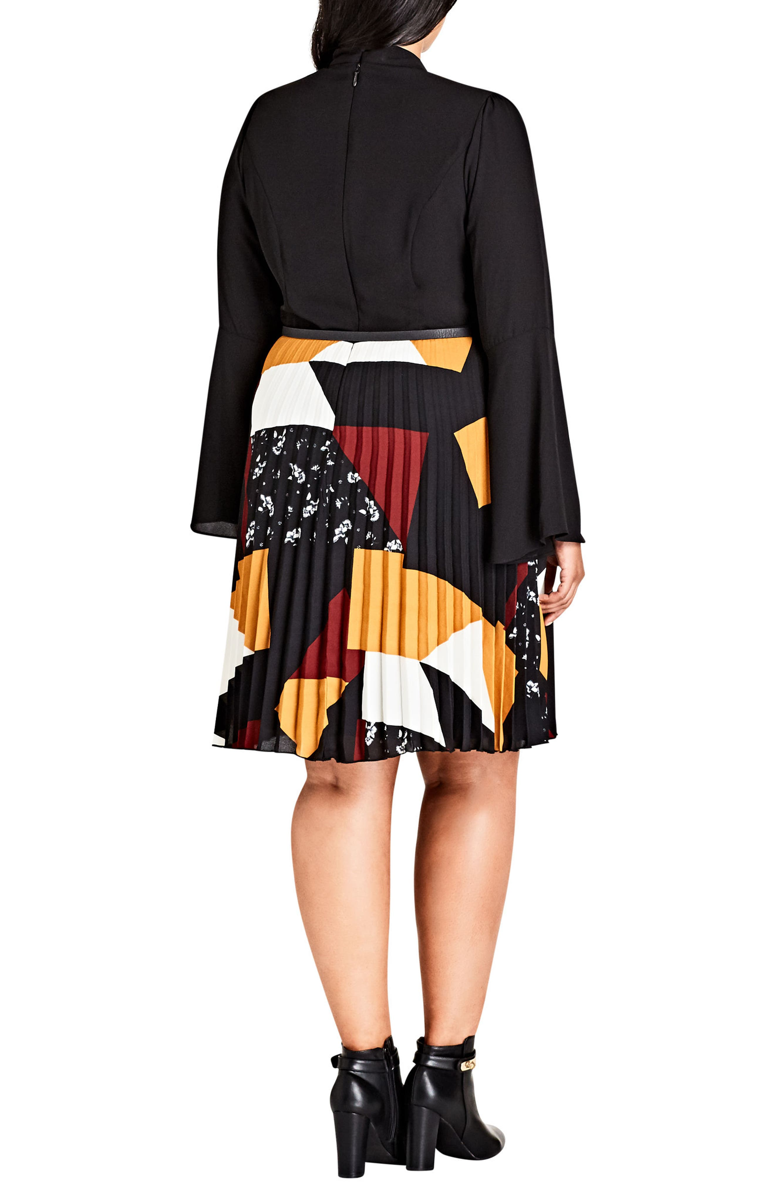Bell Patchwork Fit & Flare Dress,                             Alternate thumbnail 2, color,                             Patch Work