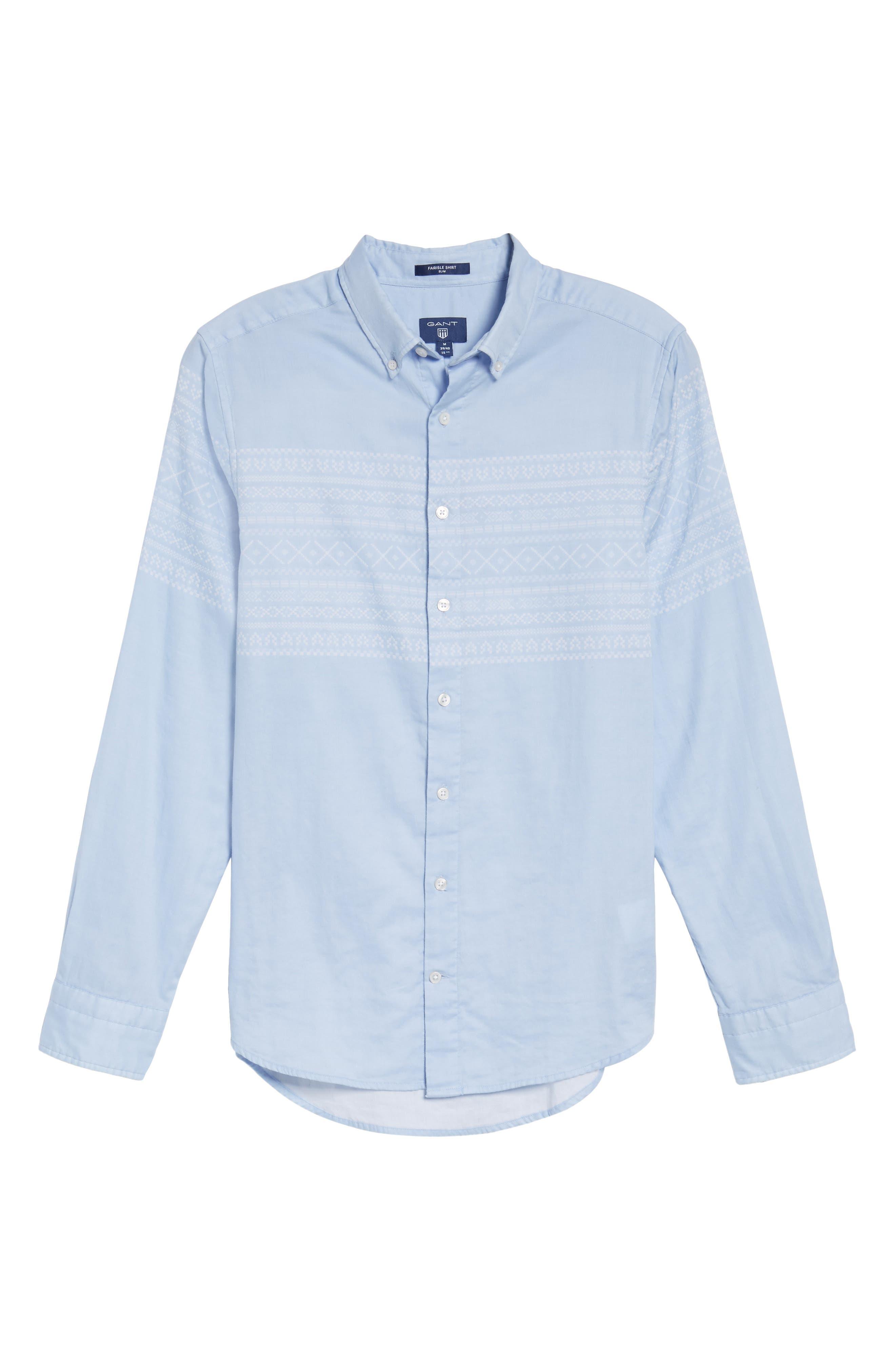02 Extra Slim Fit Fair Isle Print Sport Shirt,                             Alternate thumbnail 6, color,                             Hamptons Blue