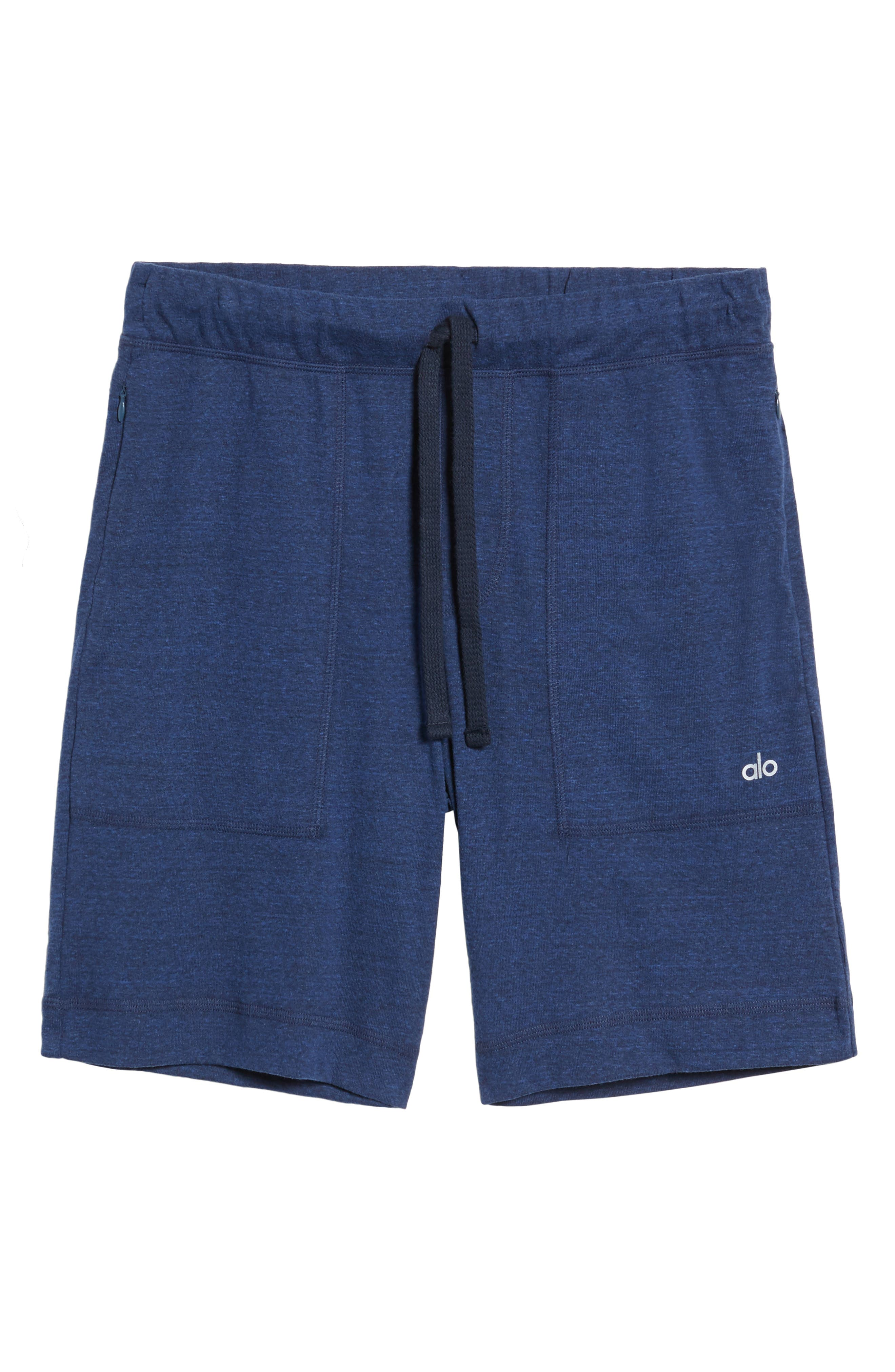 Revival Relaxed Knit Shorts,                             Alternate thumbnail 5, color,                             Navy Triblend