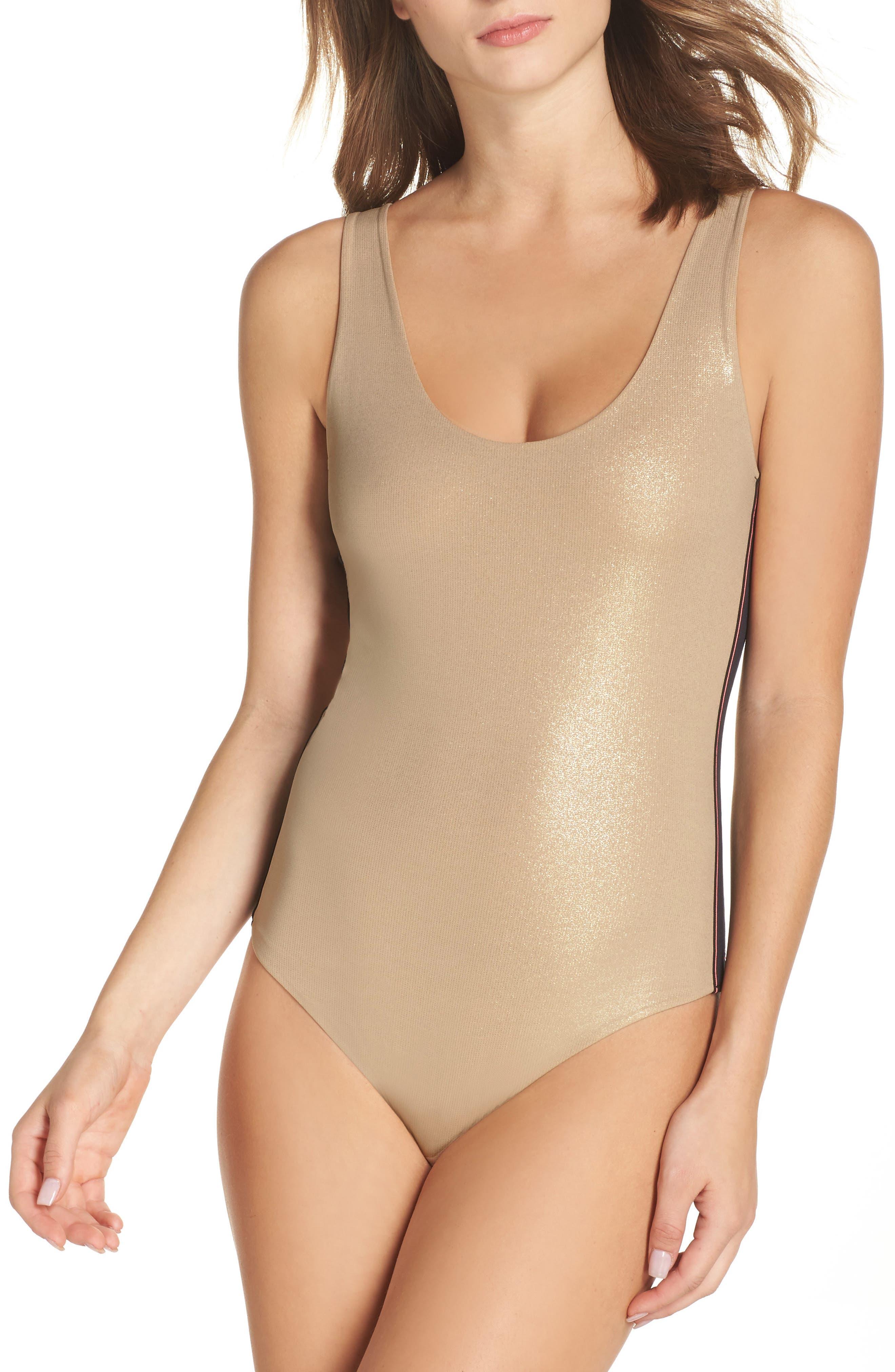 Shimmer Bodysuit,                         Main,                         color, Gold