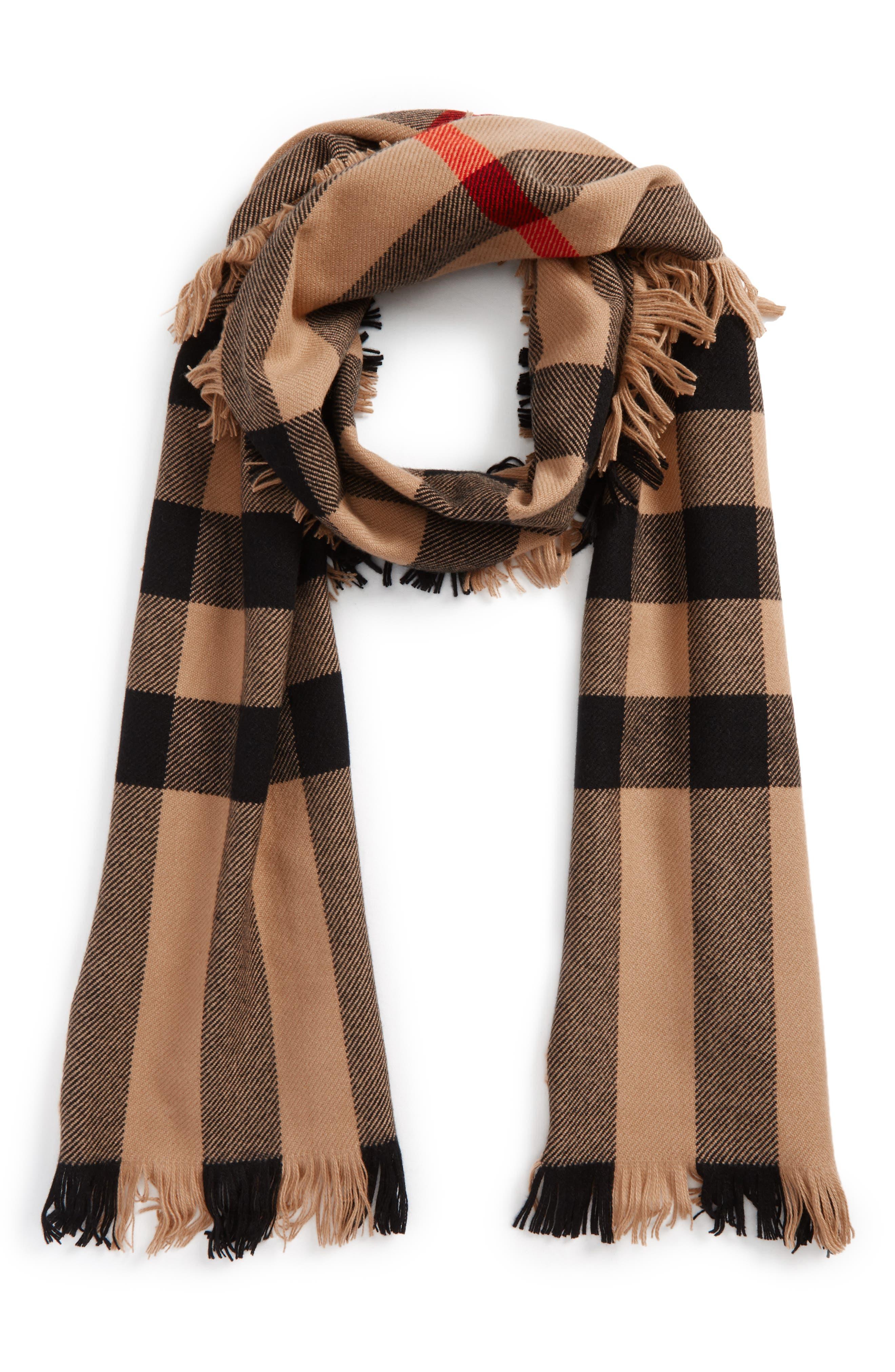 Half Mega Fashion Wool Fringe Scarf,                         Main,                         color, Camel