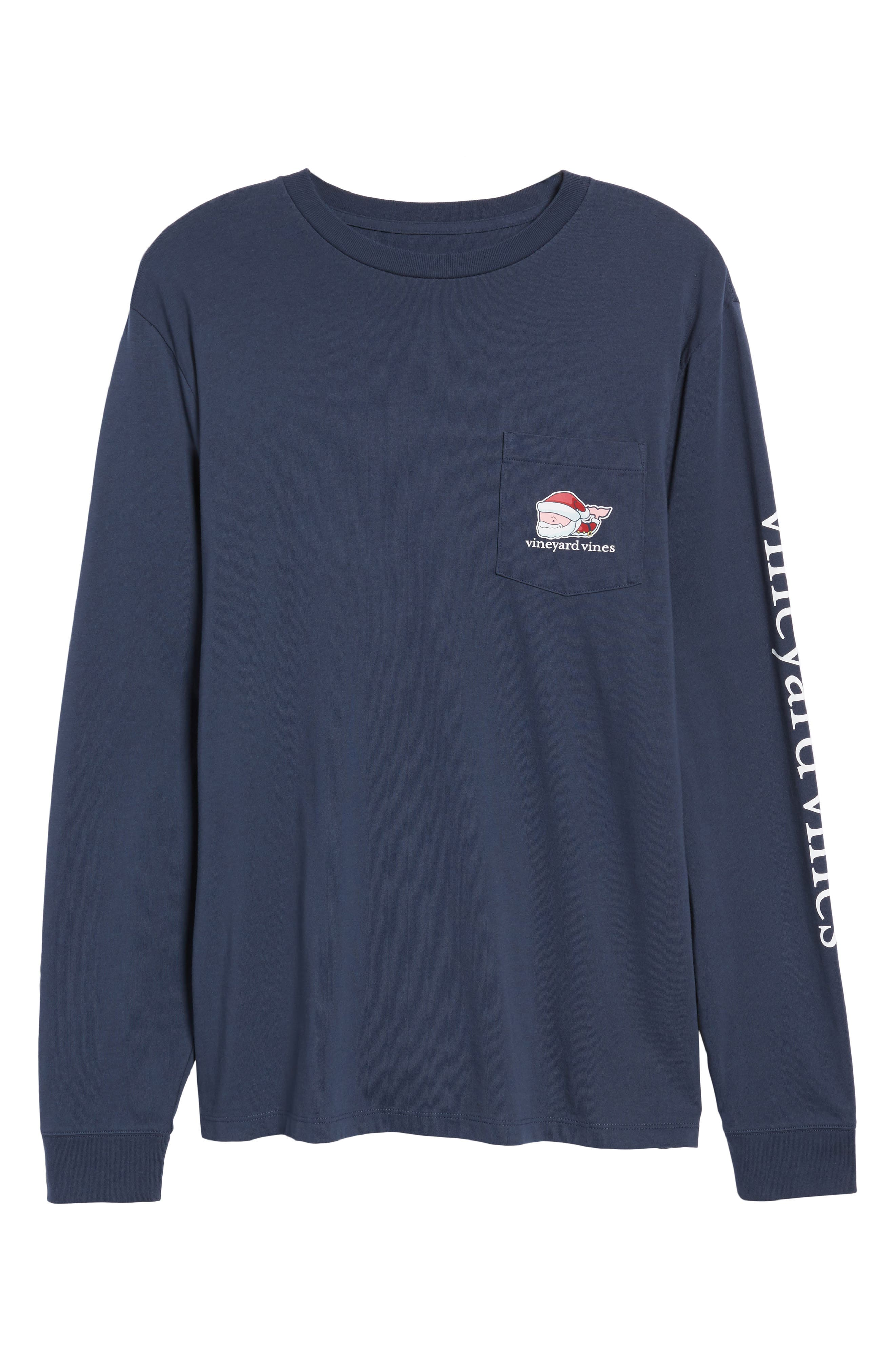 Mr. Claus Whale Graphic Pocket T-Shirt,                             Alternate thumbnail 6, color,                             Blue Blazer