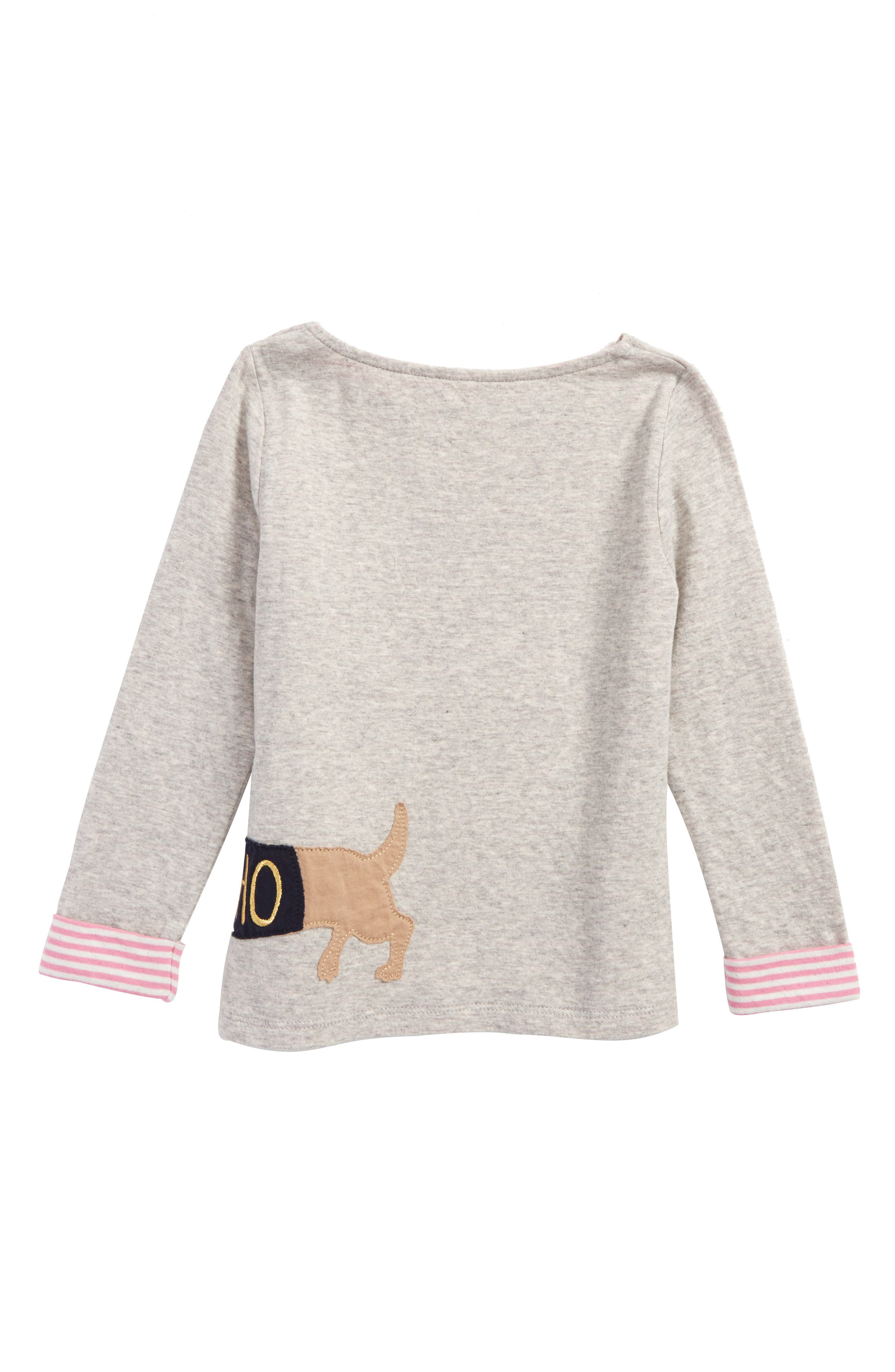 Cosy Appliqué Tee,                             Alternate thumbnail 3, color,                             Grey Marl Dog Gry
