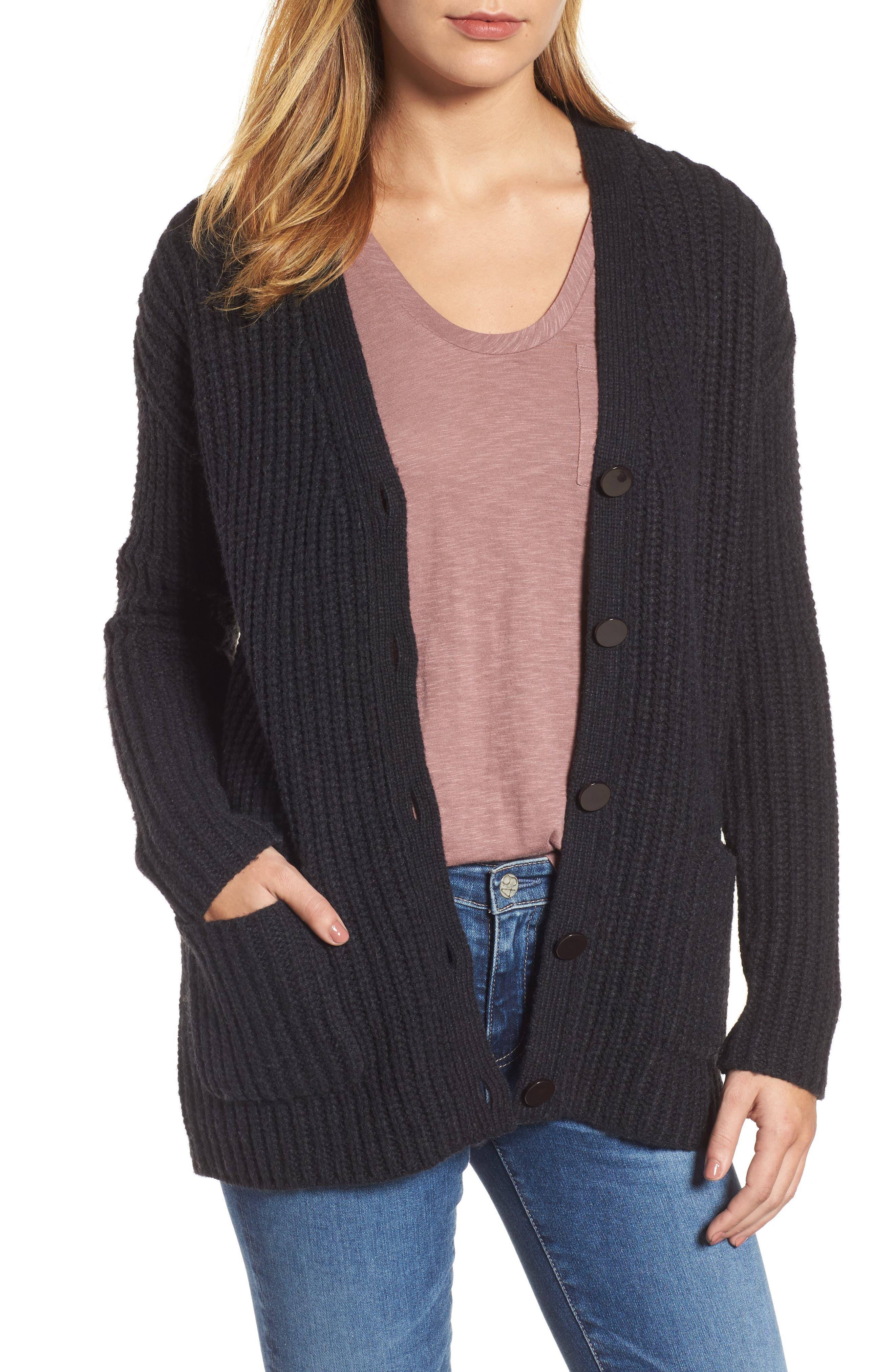 Textured Button Cardigan,                         Main,                         color, Coal