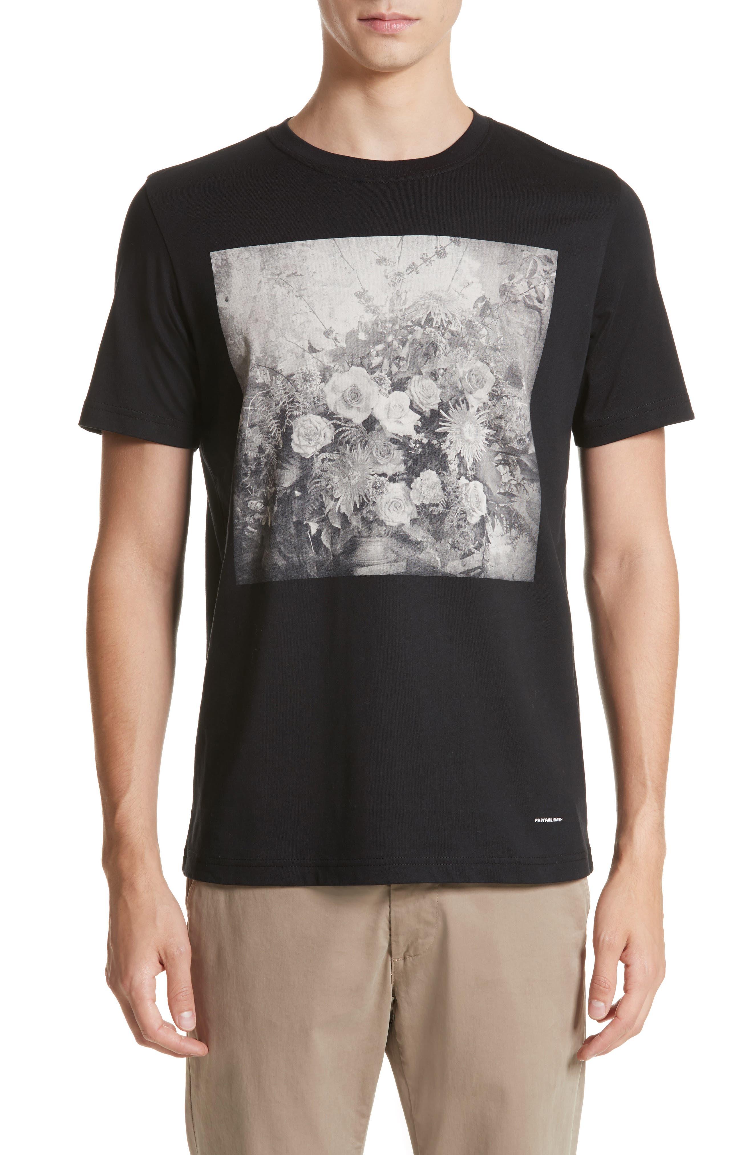 Flower Graphic T-Shirt,                         Main,                         color, Black