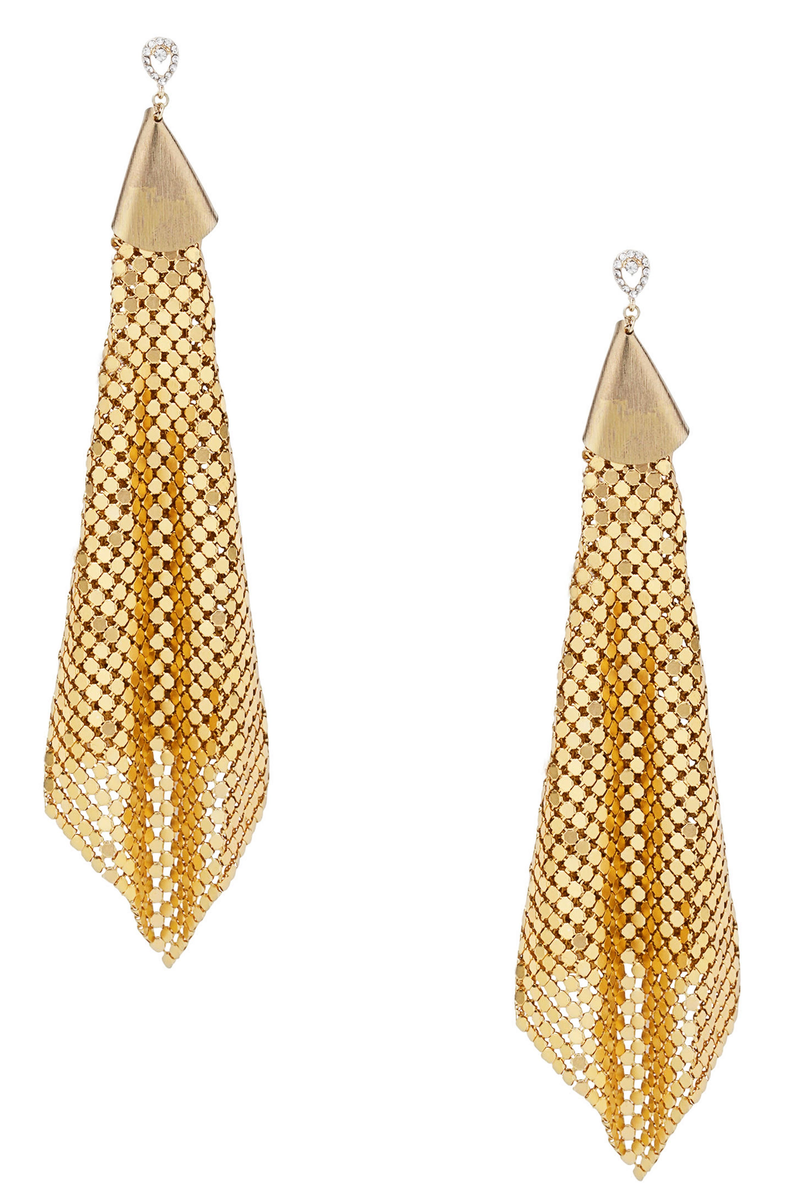 Mesh Chain Statement Earrings,                             Main thumbnail 1, color,                             Gold