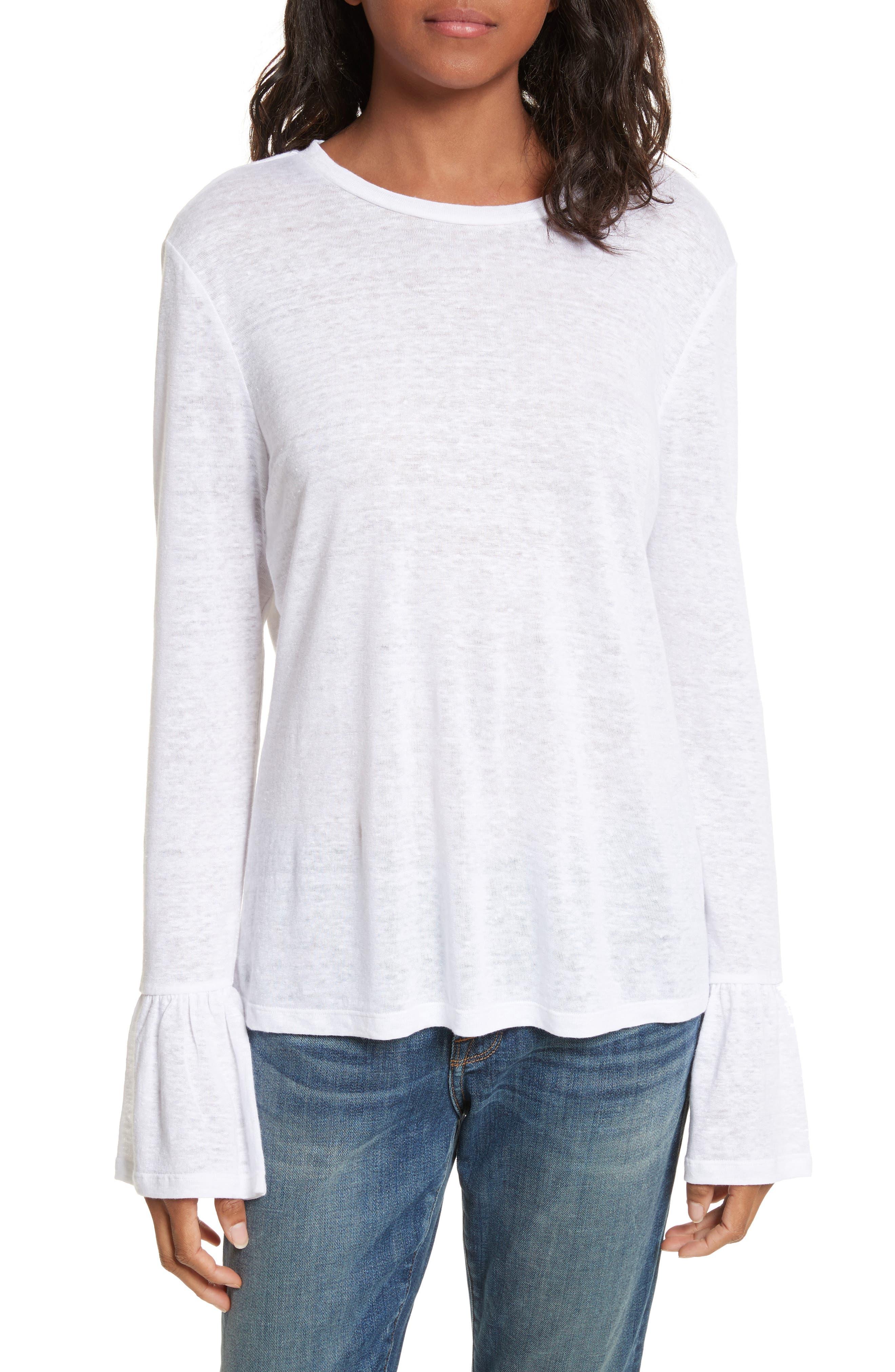 Ruffle Cuff Linen Top,                         Main,                         color, Blanc