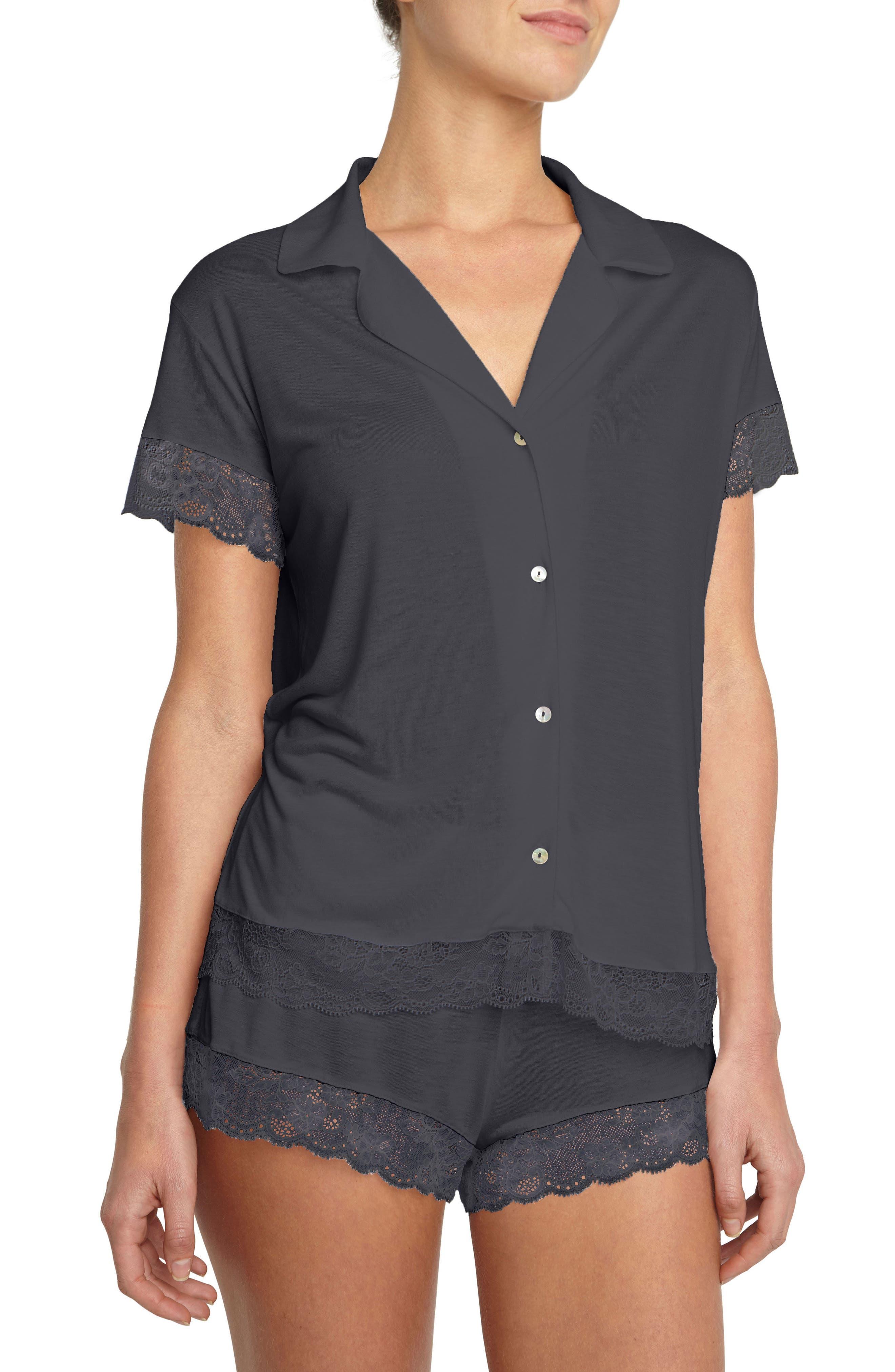 Noor Short Pajamas,                         Main,                         color, Ebony