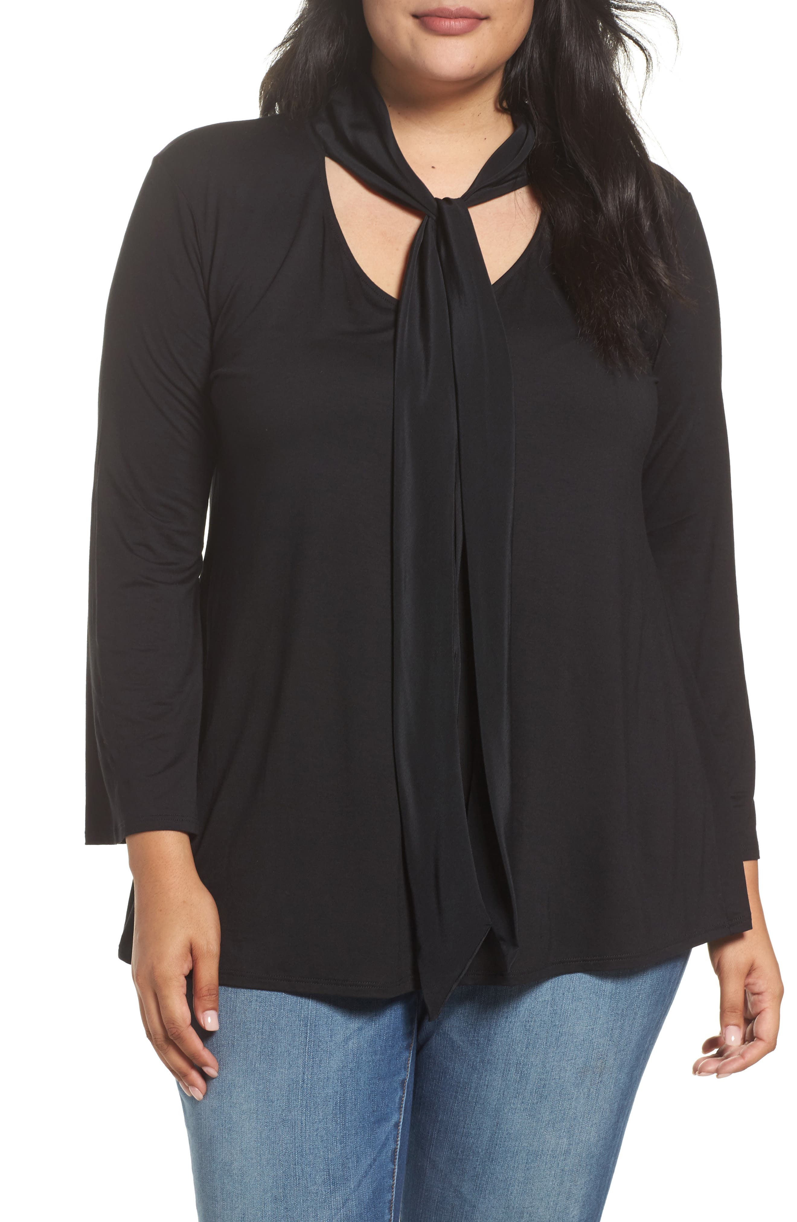 Alternate Image 1 Selected - Three Dots Tie Neck Jersey Top (Plus Size)