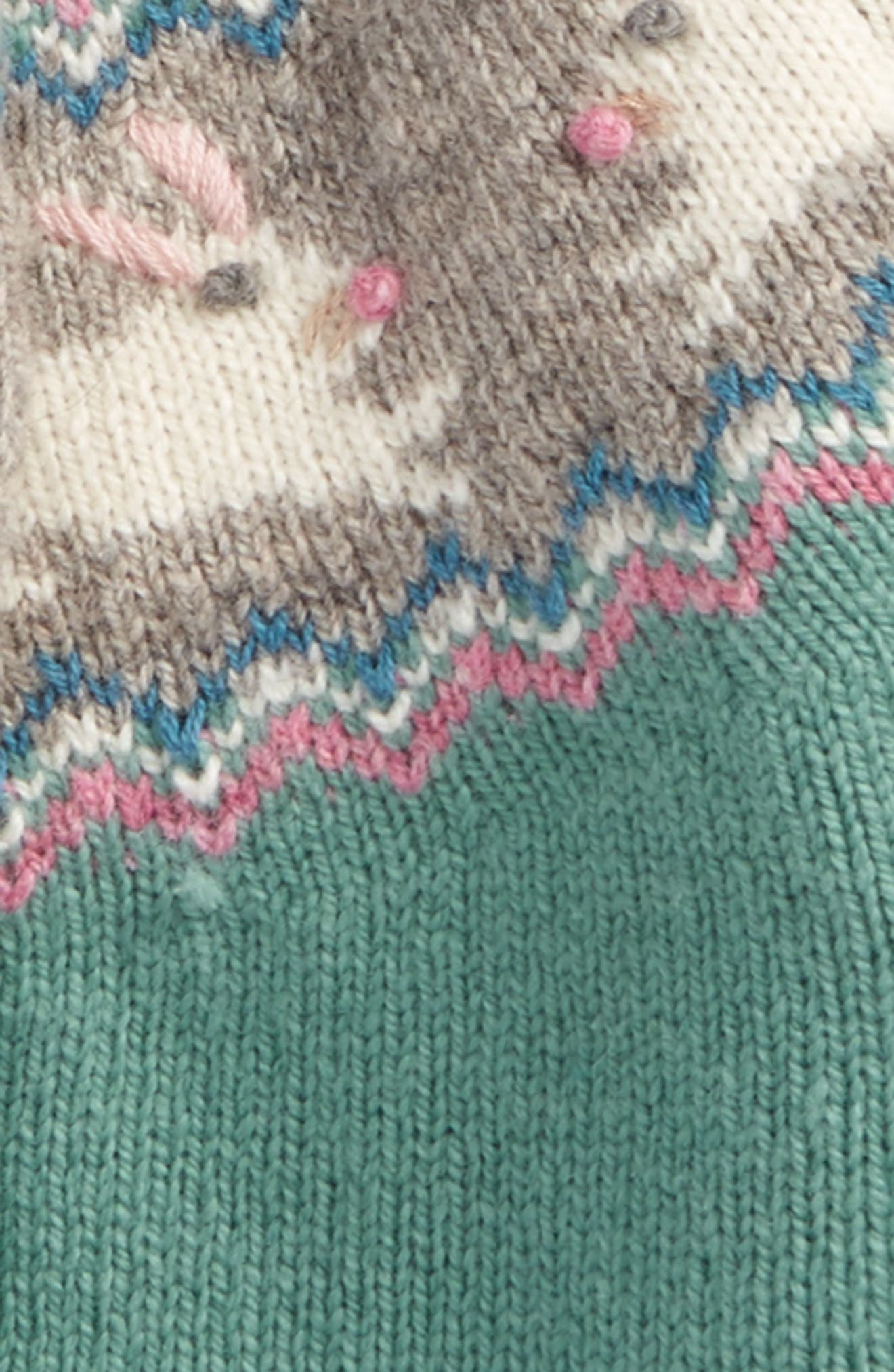 Fair Isle Cardigan,                             Alternate thumbnail 2, color,                             Green Bunnies