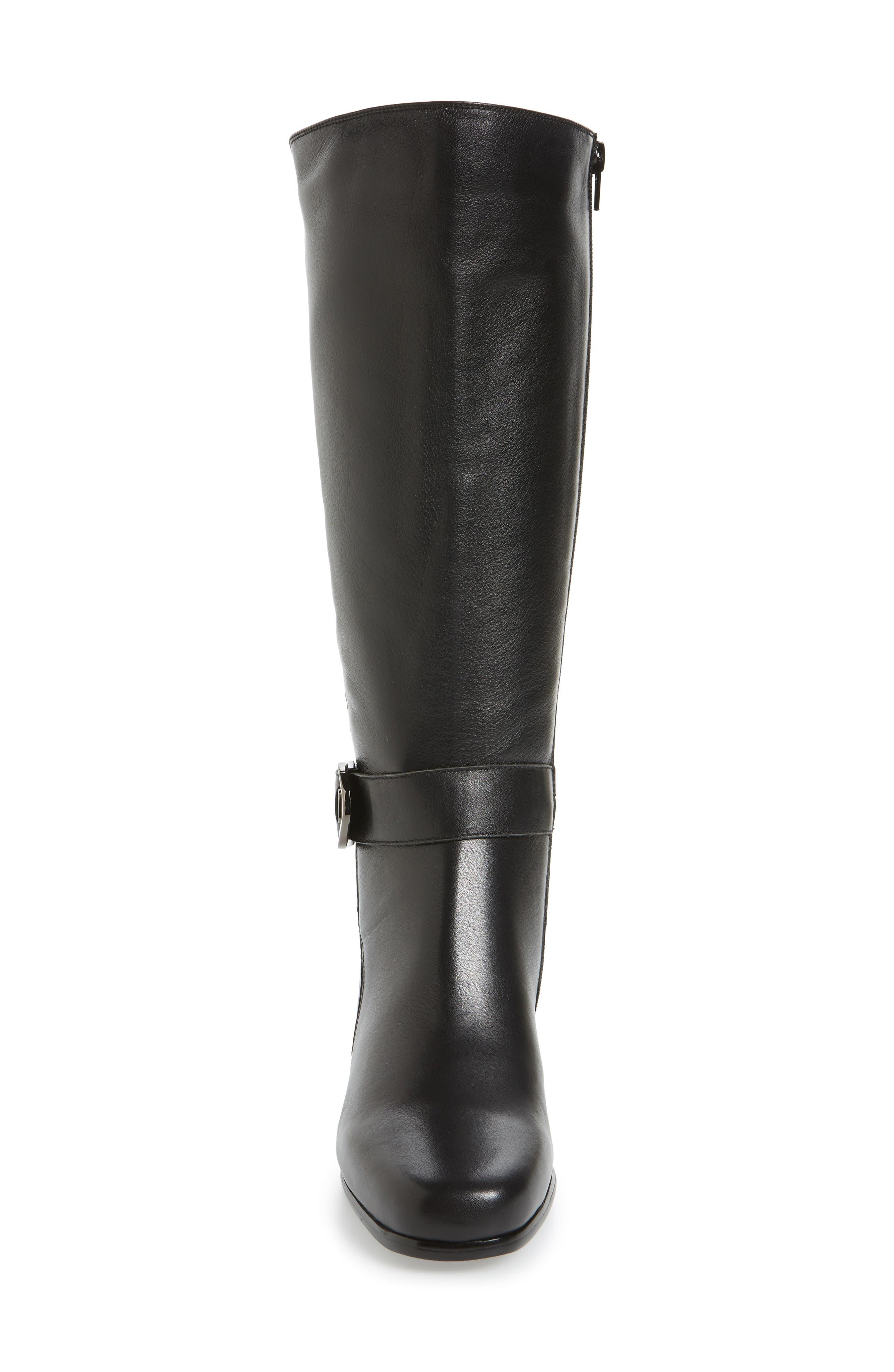 Bonita 18 Boot,                             Alternate thumbnail 4, color,                             Black Leather Fabric