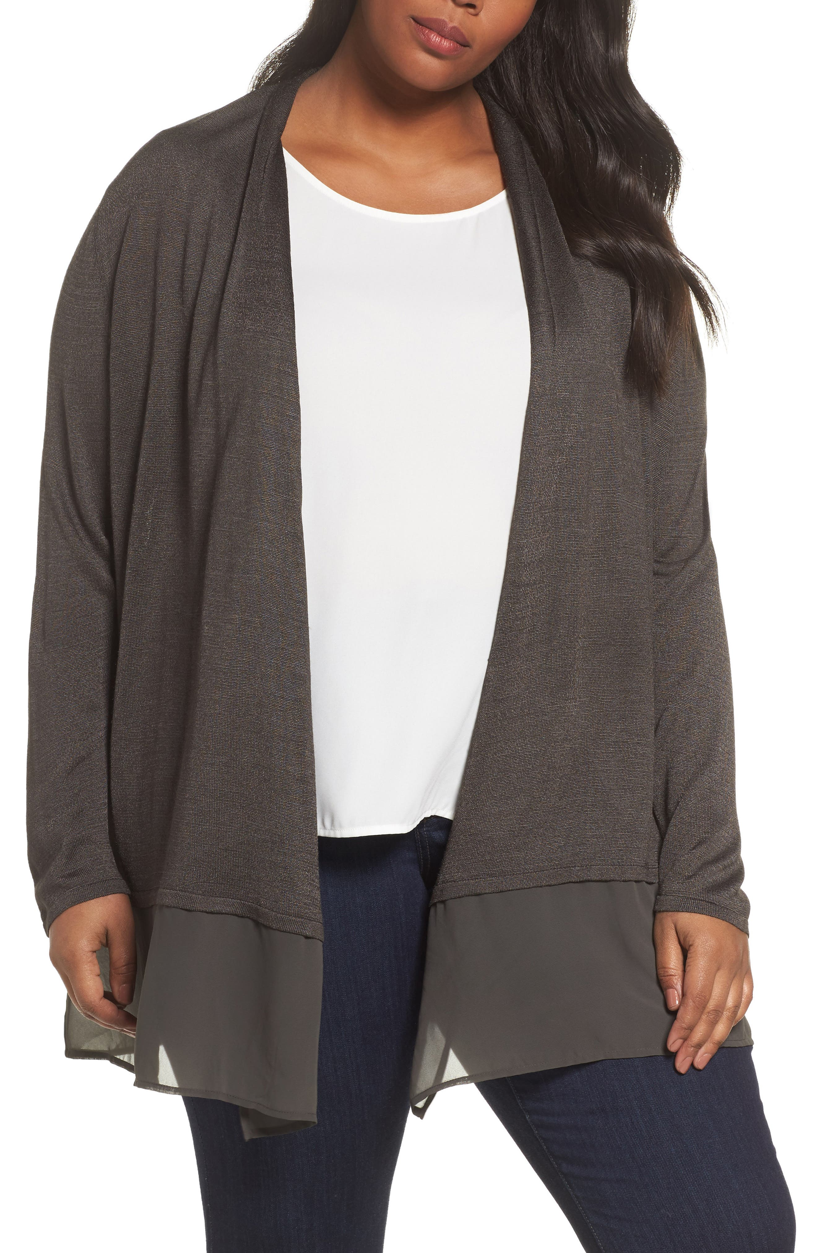 NIC+ZOE Silk Blend Cardigan (Plus Size)