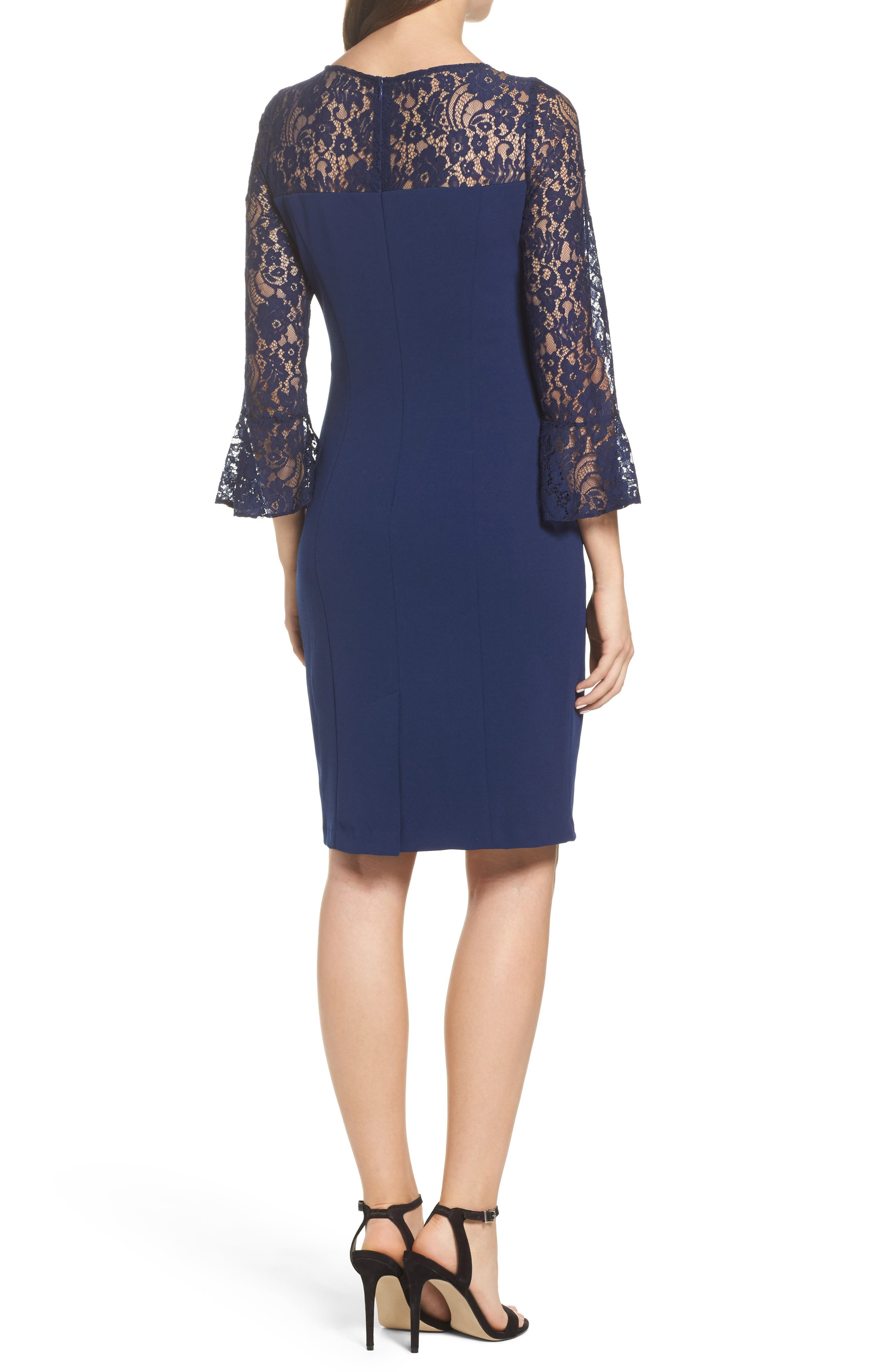 Alternate Image 2  - Adrianna Papell Lace & Crepe Dress