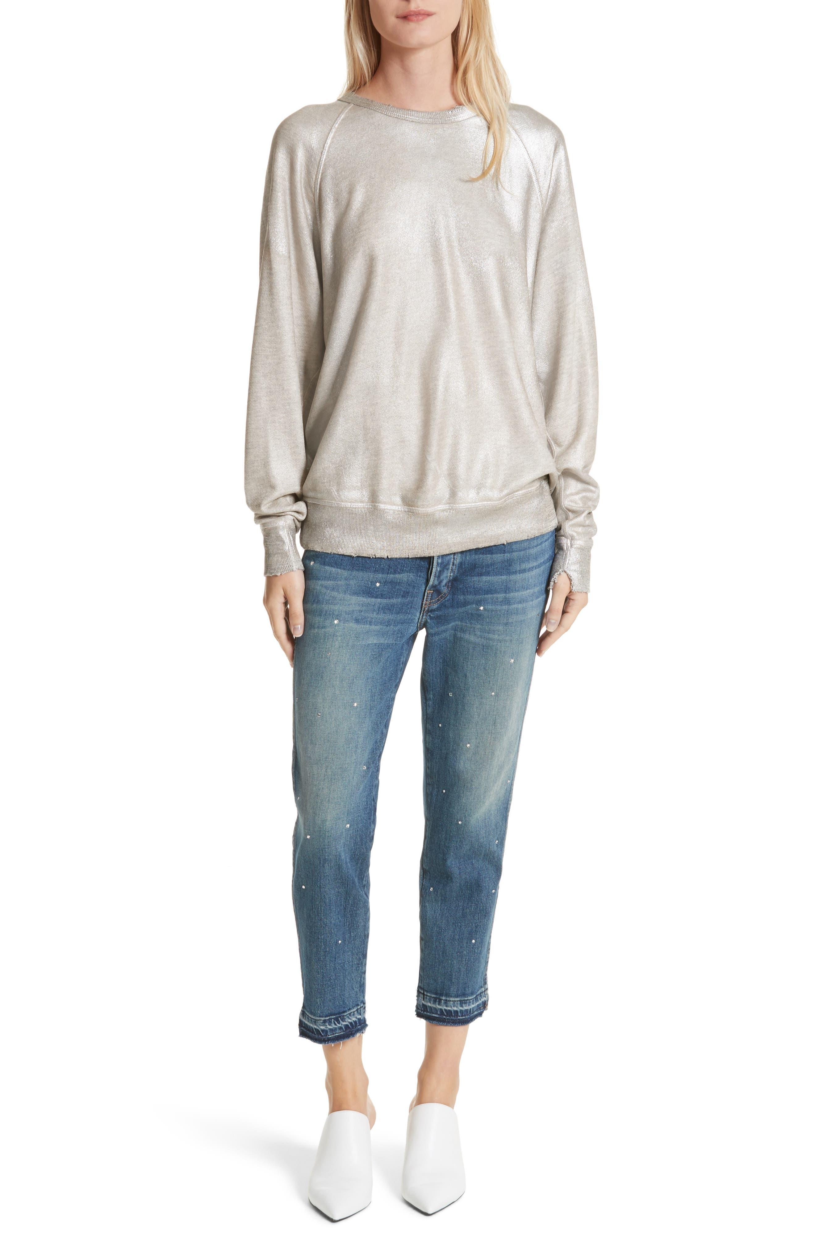 The College Metallic Foil Sweatshirt,                             Alternate thumbnail 2, color,                             Heather Grey