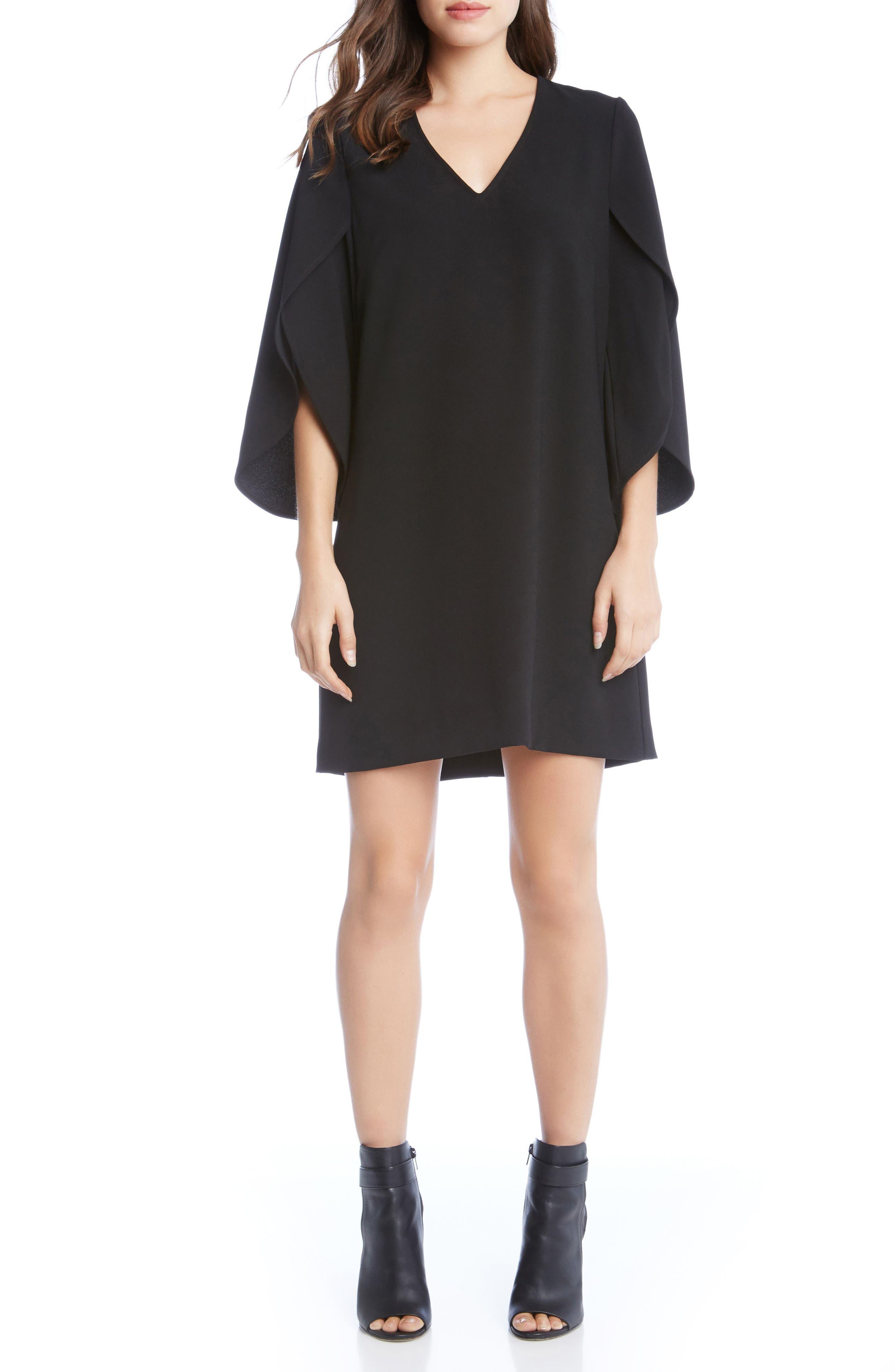 Split Sleeve Shift Dress,                             Main thumbnail 1, color,                             Black
