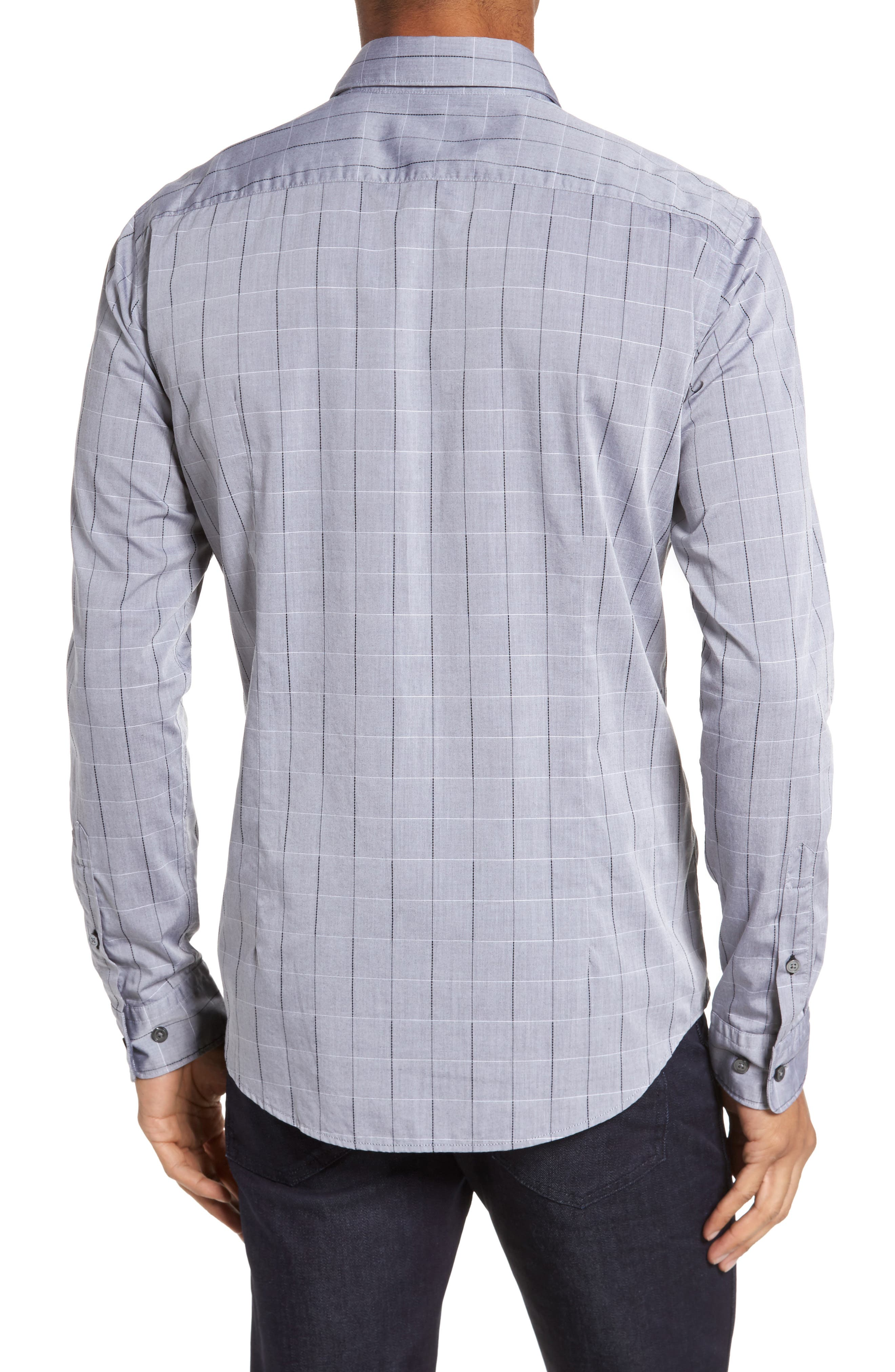 Ridley Slim Fit Dobby Check Sport Shirt,                             Alternate thumbnail 2, color,                             Grey
