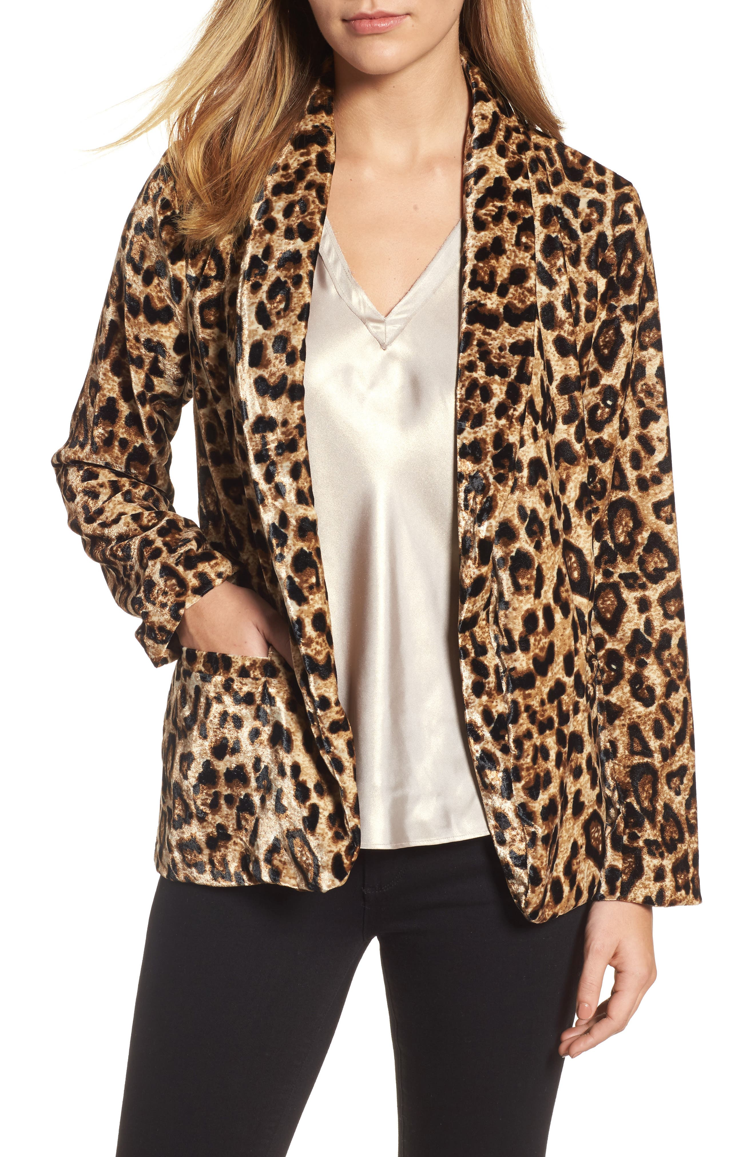 Velvet Belted Smoking Jacket,                             Main thumbnail 1, color,                             Leopard