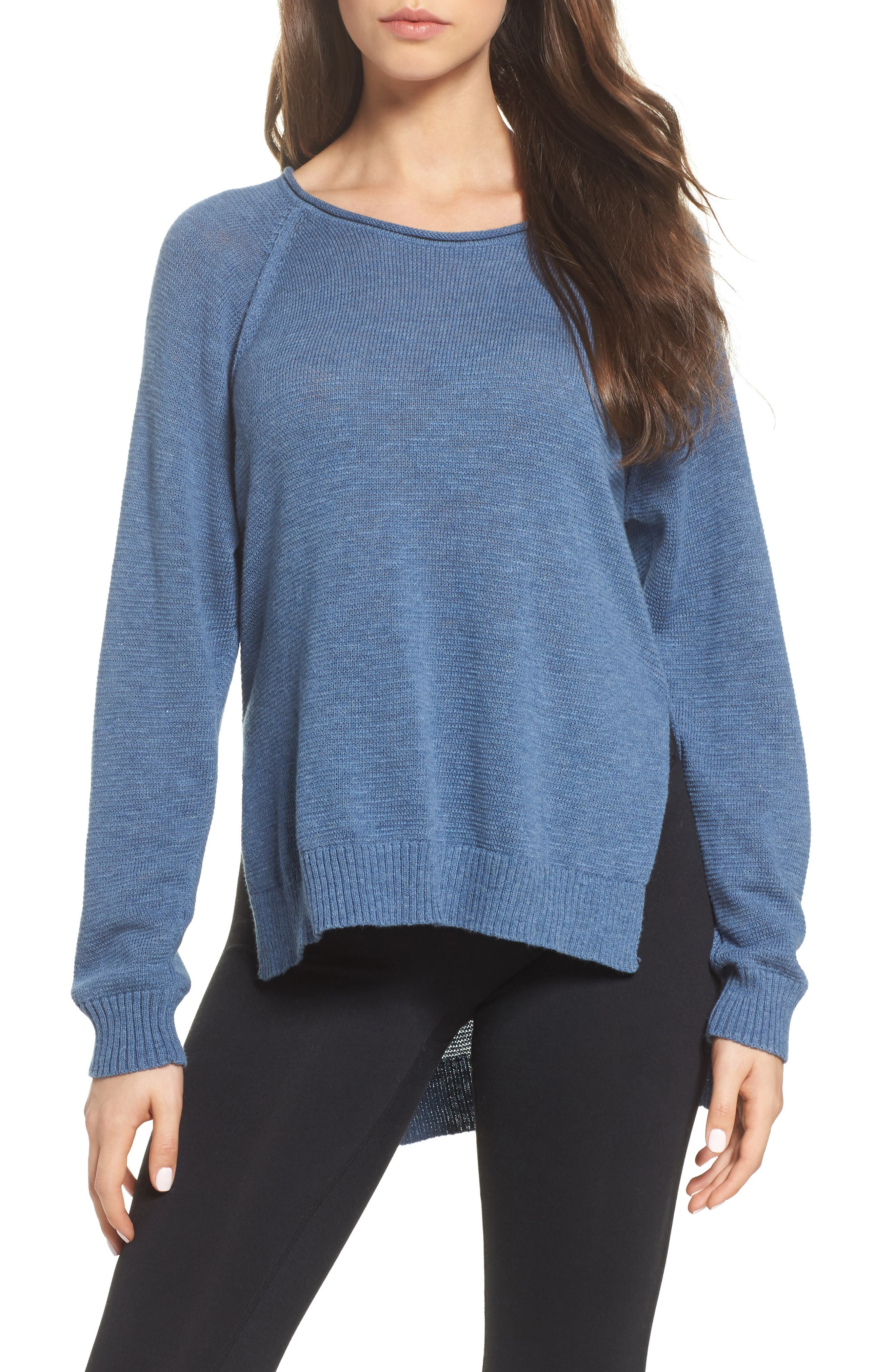 Estela High/Low Sweater,                             Main thumbnail 1, color,                             Deep River Heather
