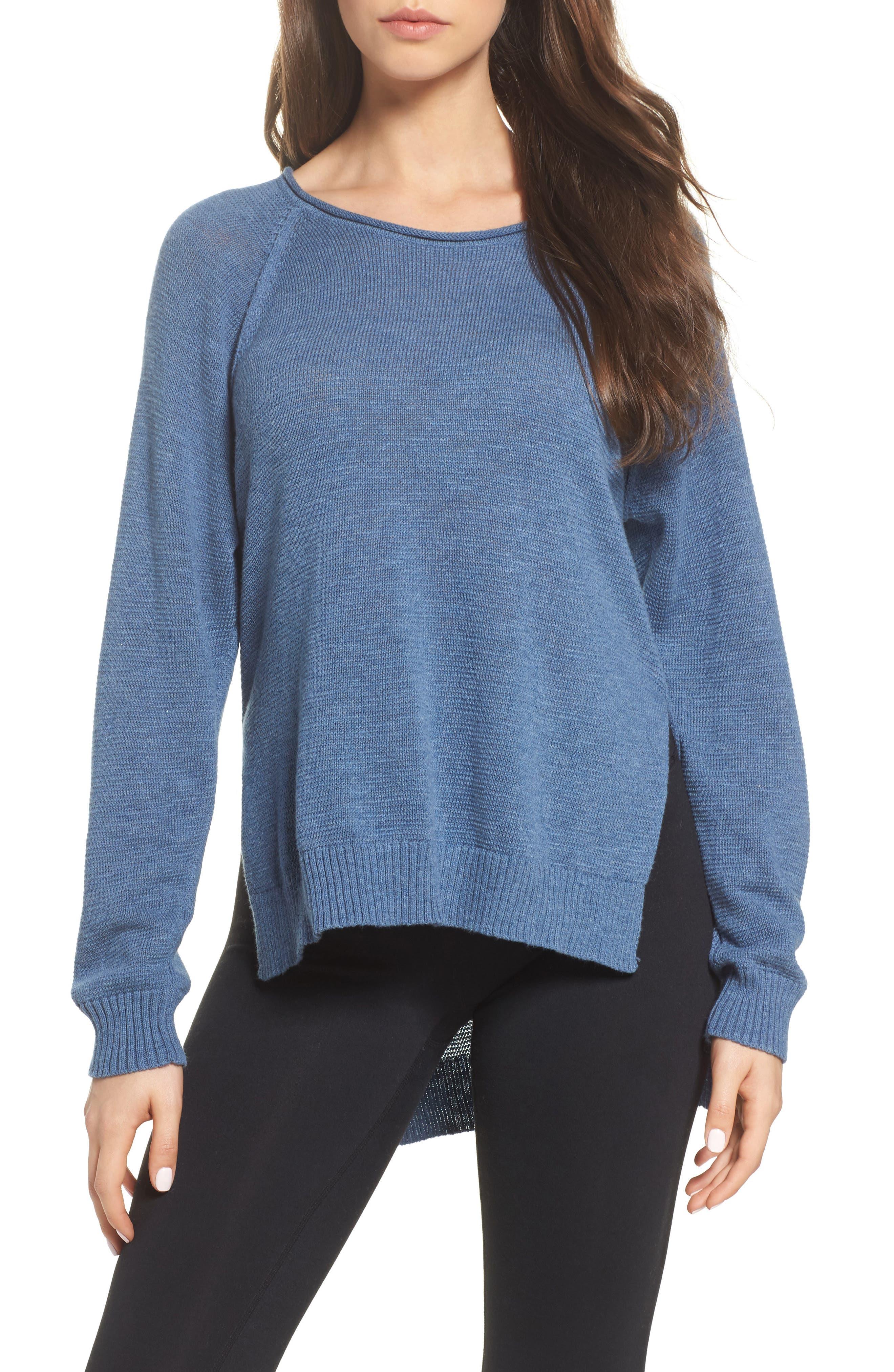 Estela High/Low Sweater,                         Main,                         color, Deep River Heather