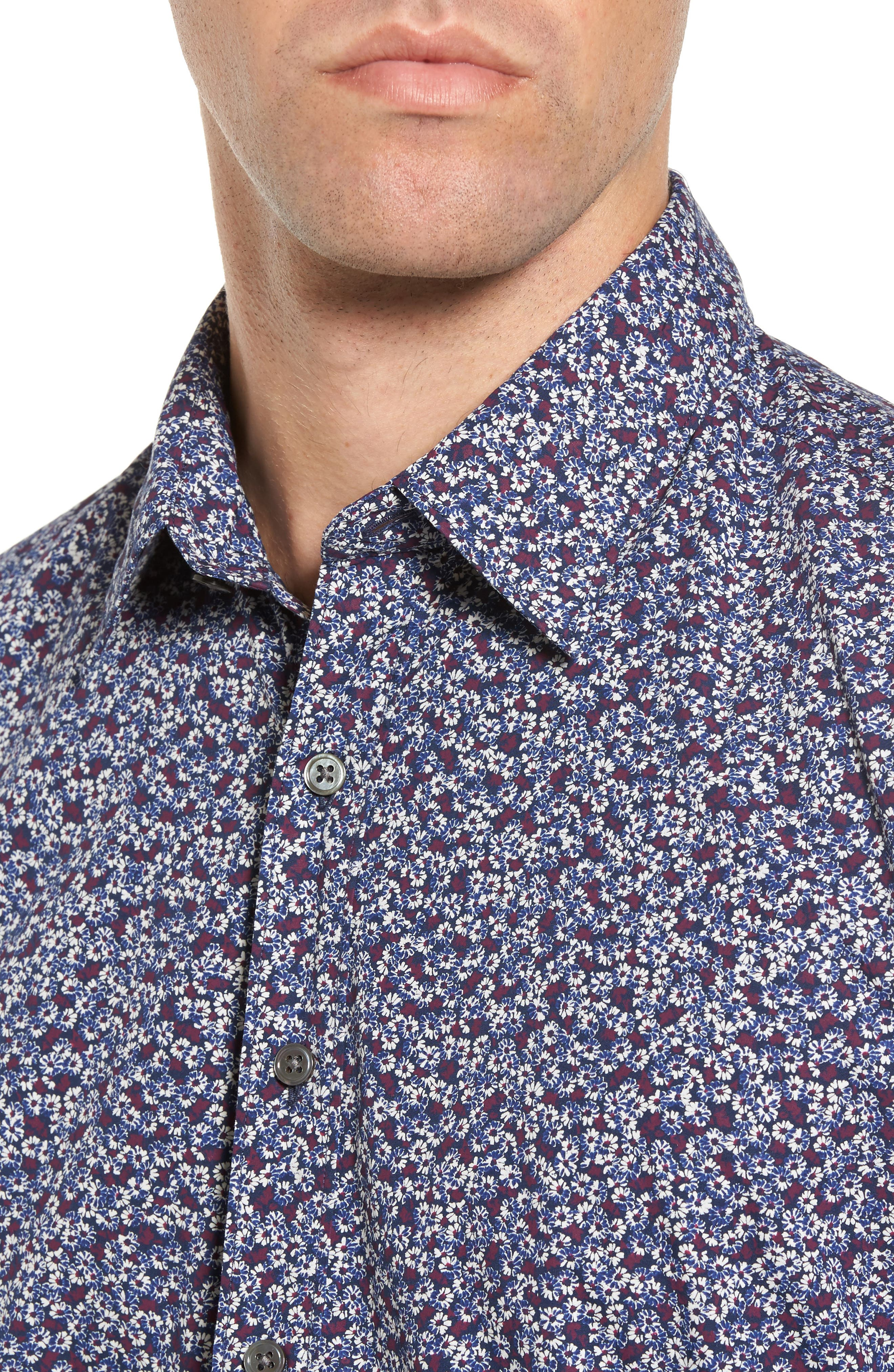 Double Bay Floral Sport Shirt,                             Alternate thumbnail 4, color,                             Royal
