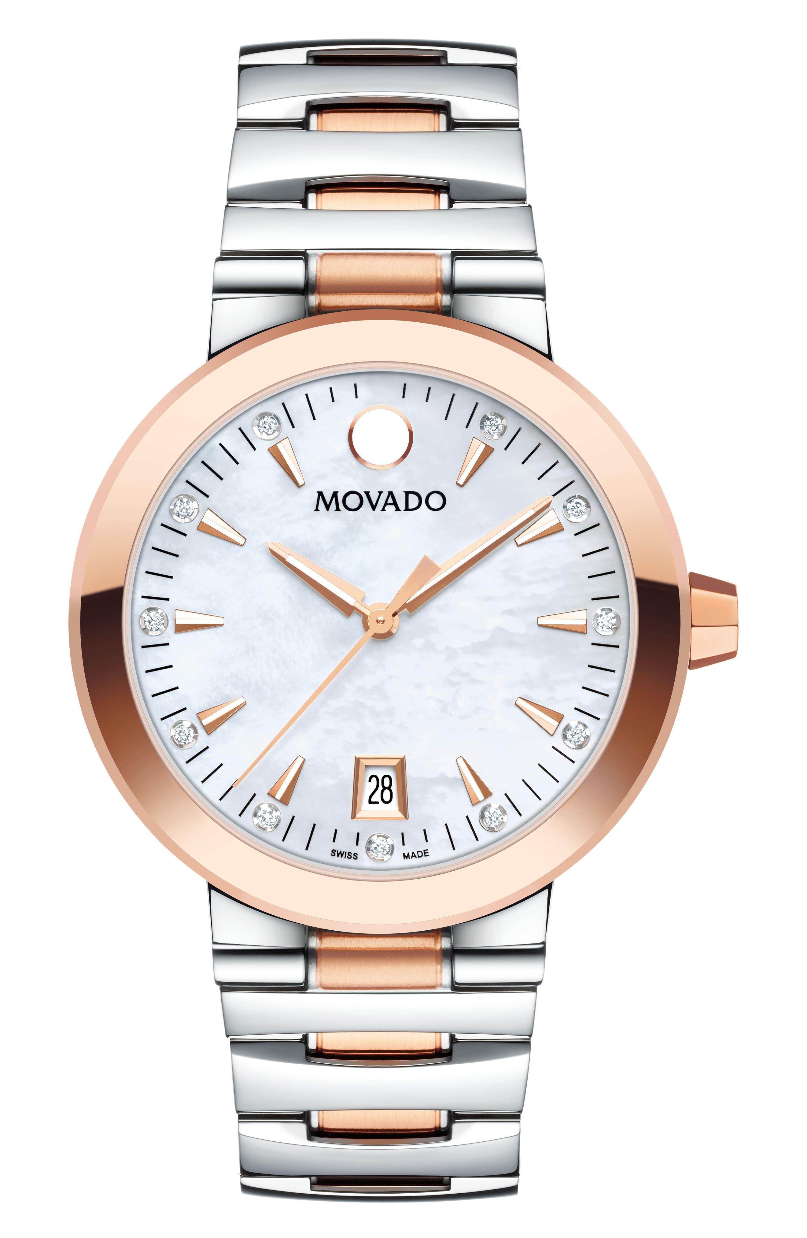 Main Image - Movado Vizio Diamond Bracelet Watch, 34mm