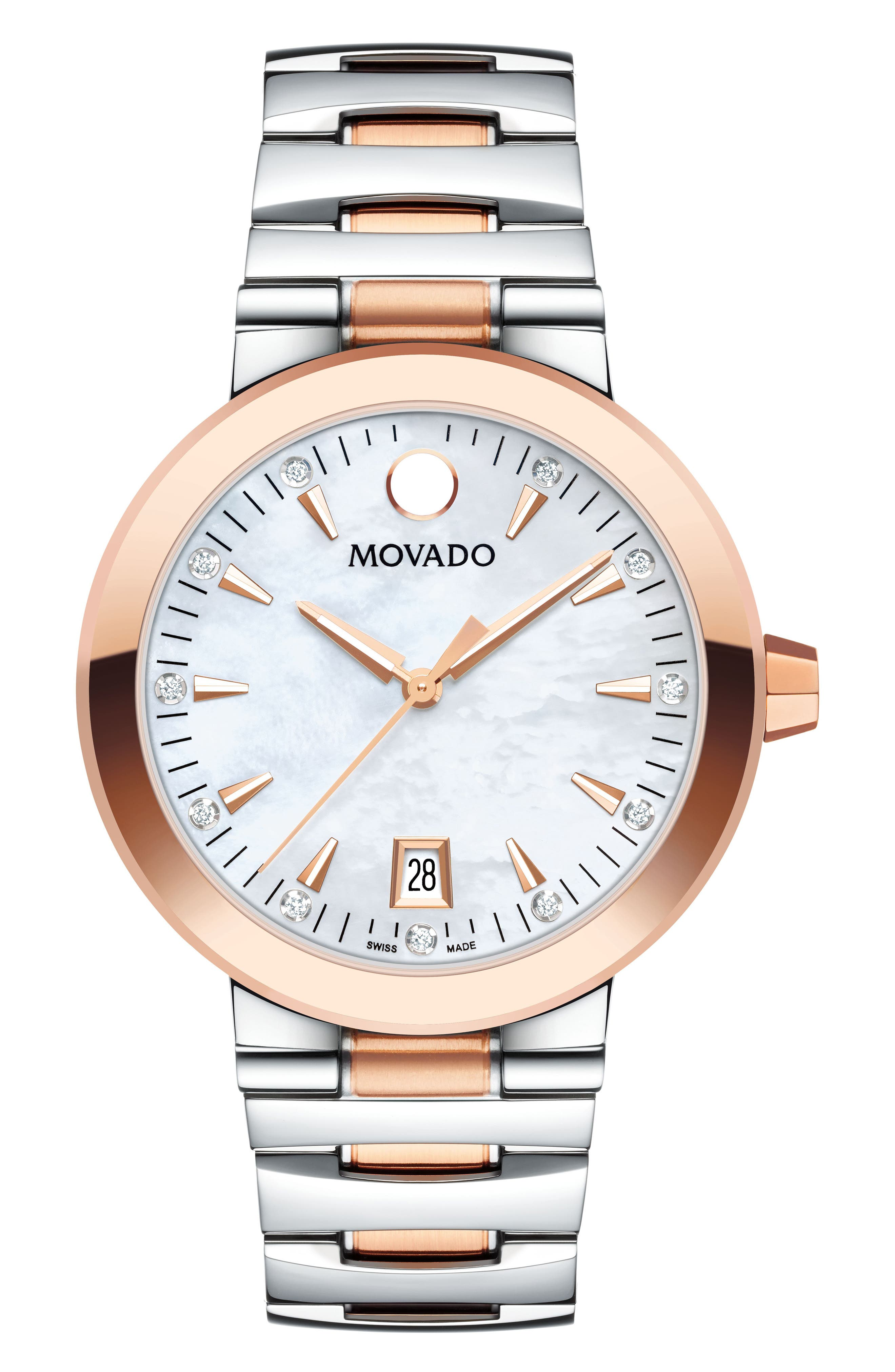 Vizio Diamond Bracelet Watch, 34mm,                         Main,                         color, Silver/ Mop/ Rose Gold