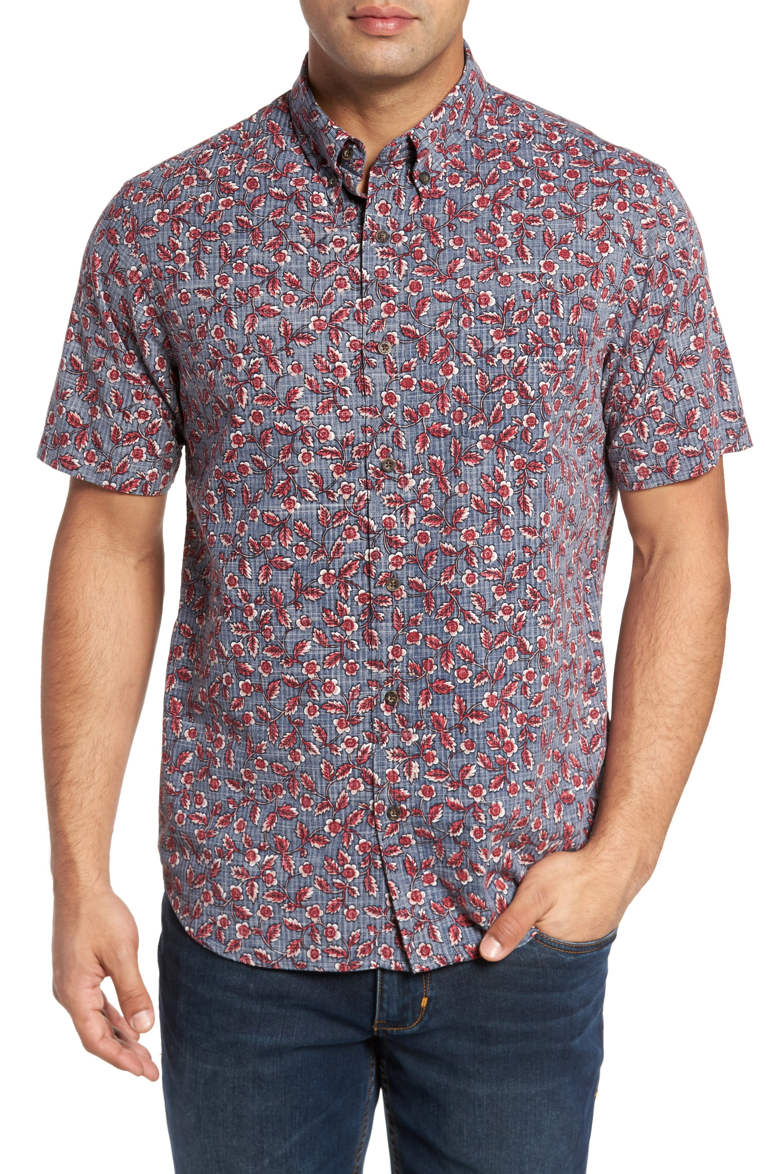 Upcountry Floral Regular Fit Sport Shirt,                         Main,                         color, Navy