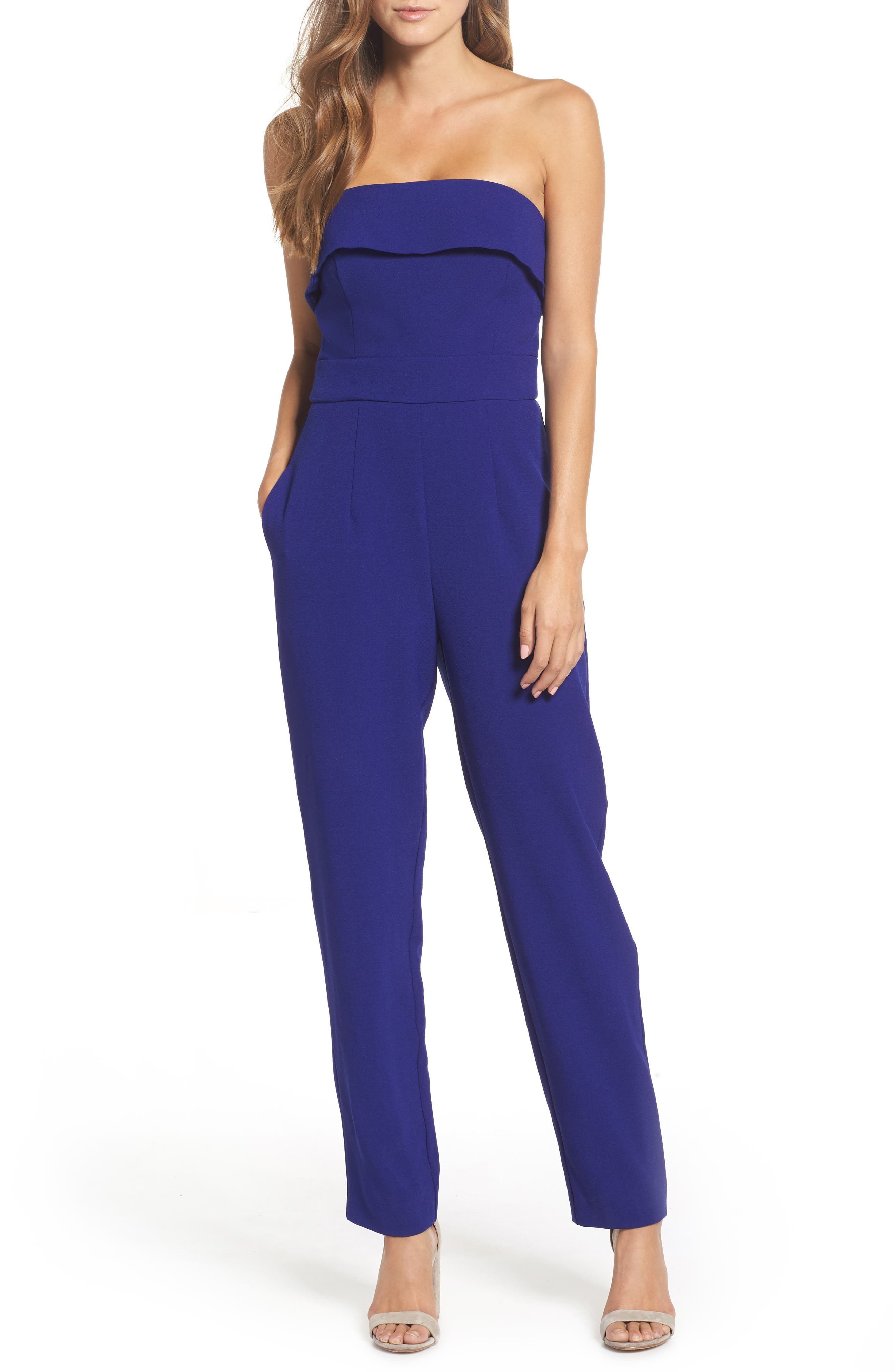 Strapless Jumpsuit,                         Main,                         color, Cobalt