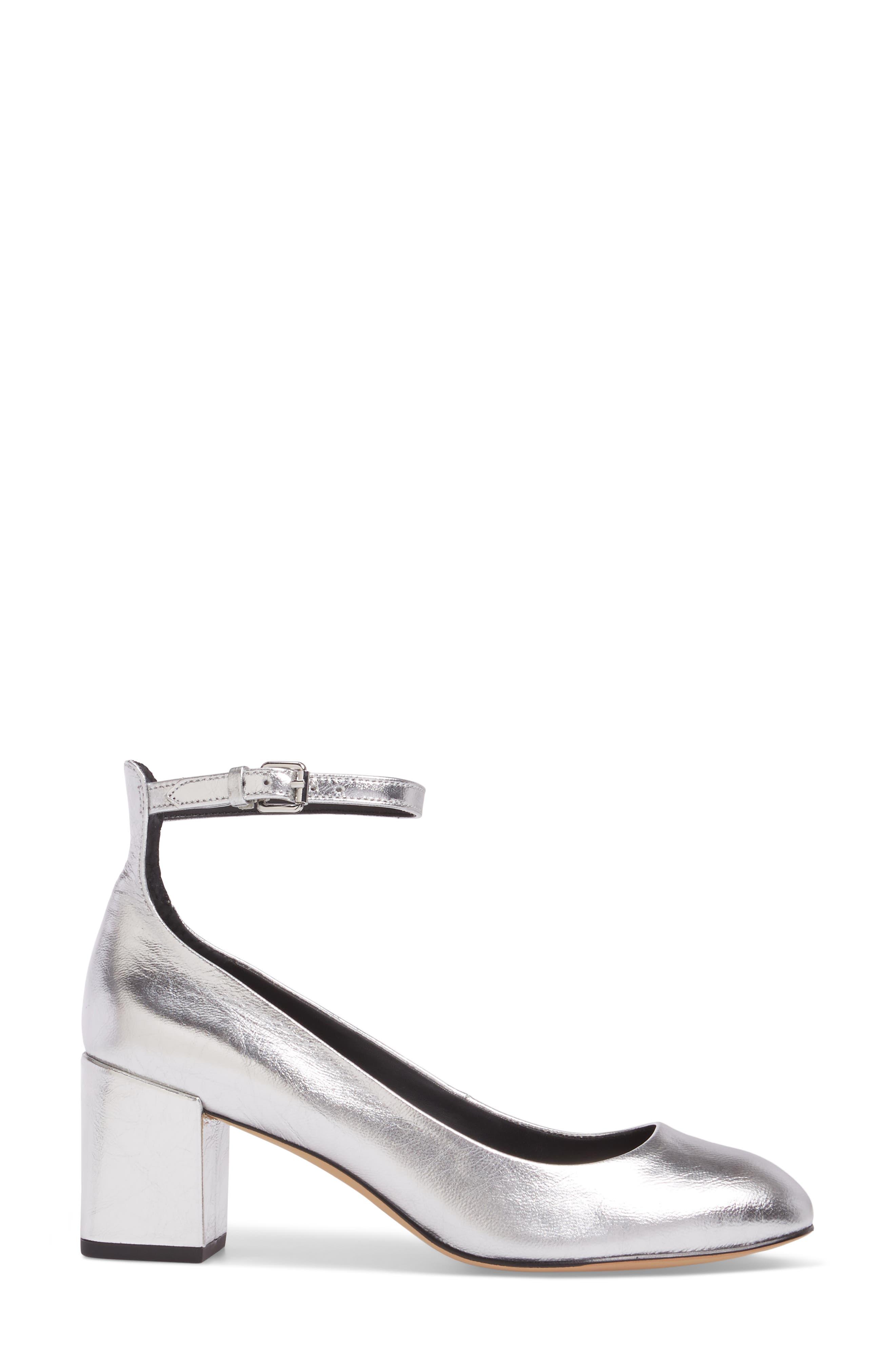 Bridget Ankle Strap Pump,                             Alternate thumbnail 3, color,                             Silver Leather