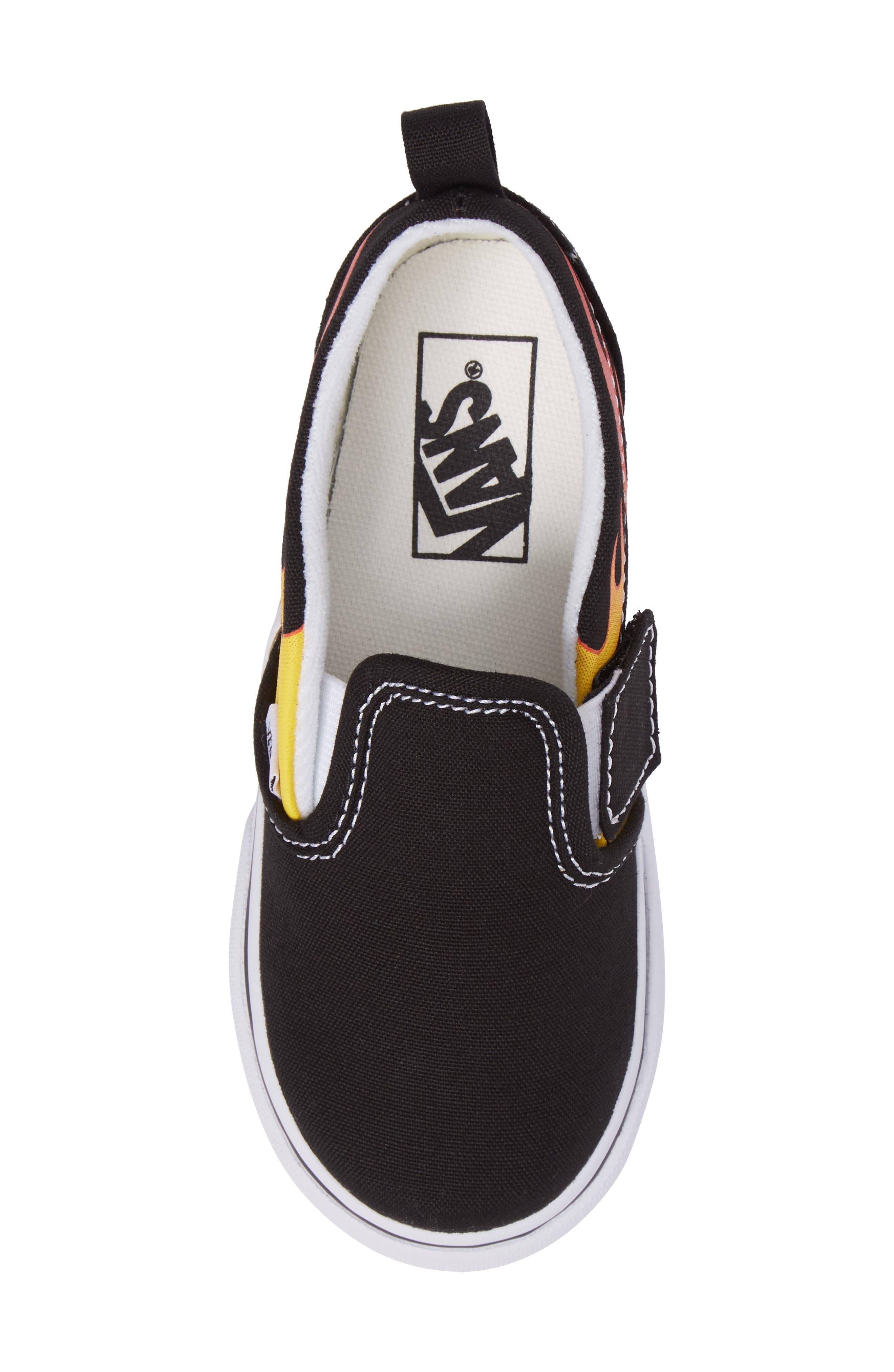 Slip-On V Sneaker,                             Alternate thumbnail 5, color,                             Flame Black/ True White