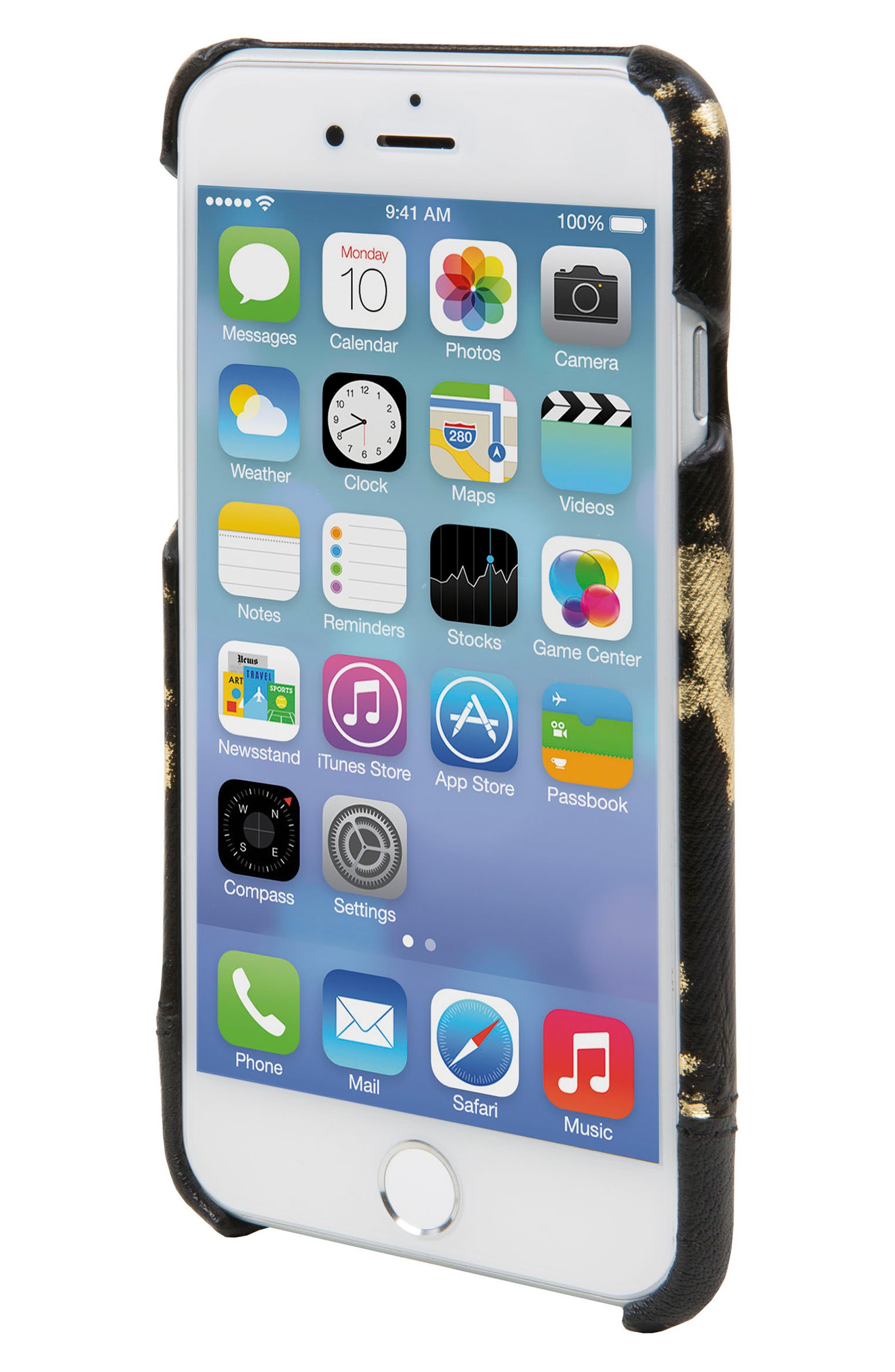 Focus Leather iPhone 6/6s/7/8 Case,                             Alternate thumbnail 3, color,                             Black/ Gold
