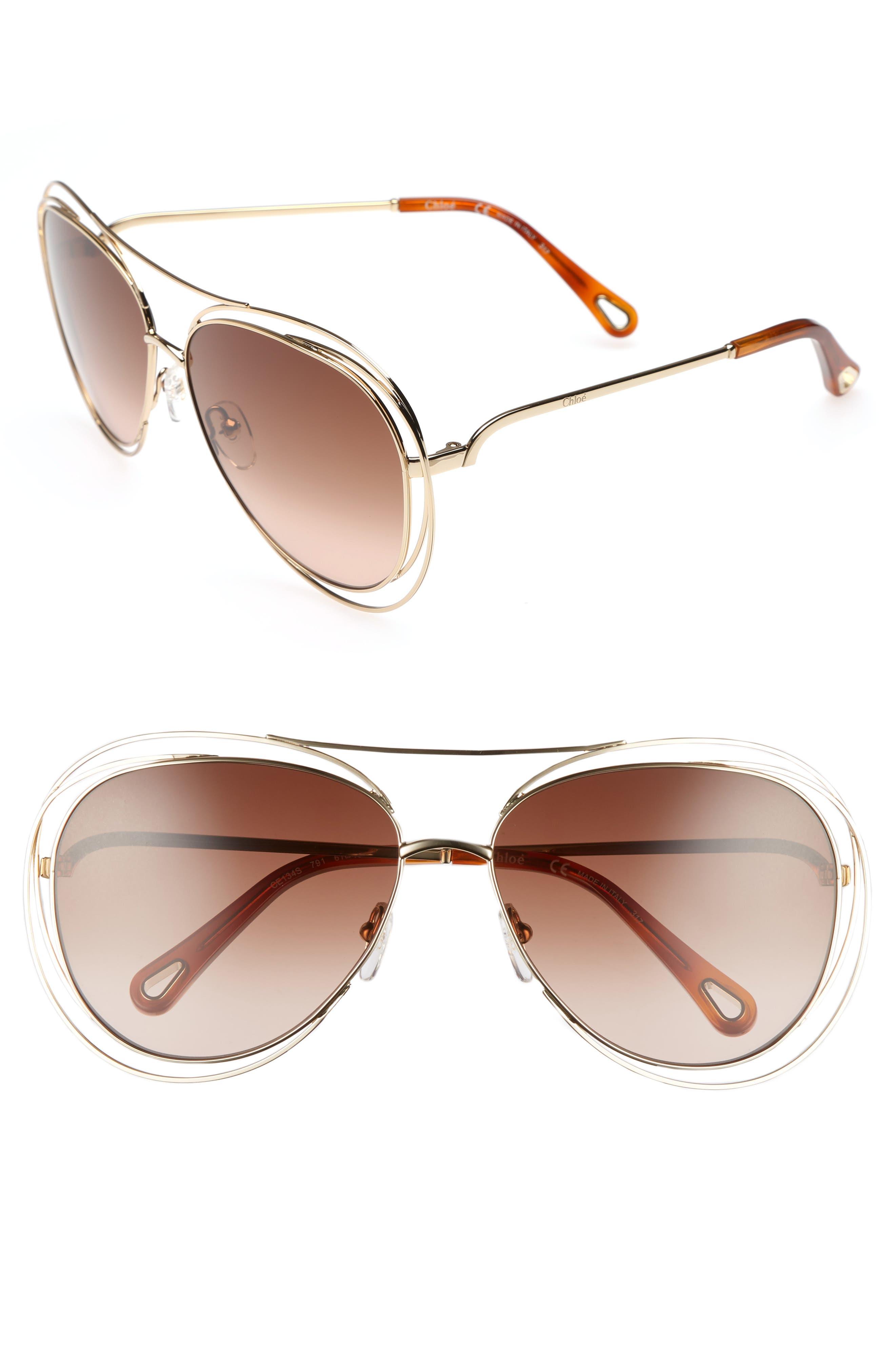 61mm Aviator Sunglasses,                         Main,                         color, Gold/ Havana