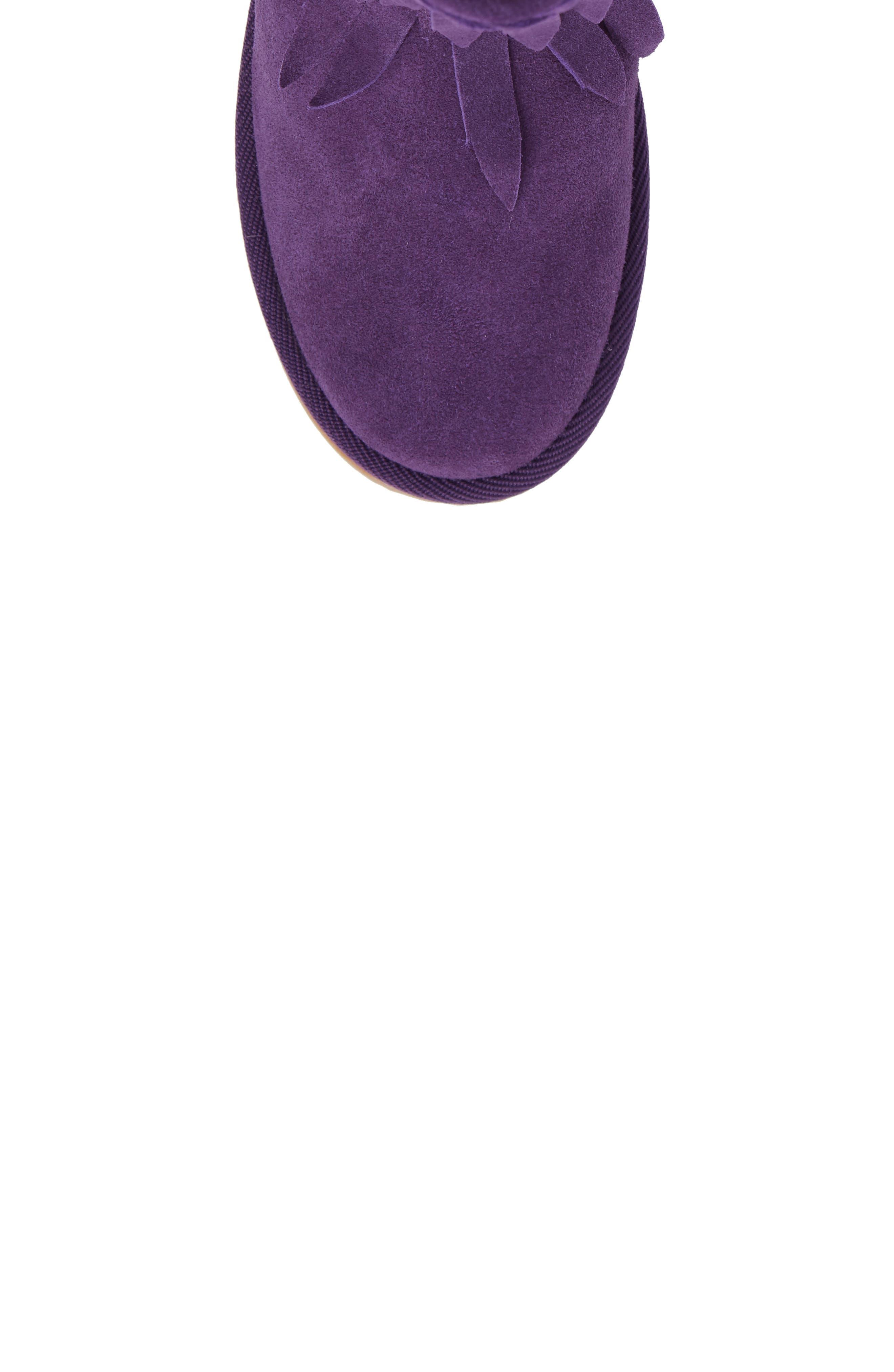 Elissa Faux Fur Fringed Bootie,                             Alternate thumbnail 5, color,                             Purple Suede