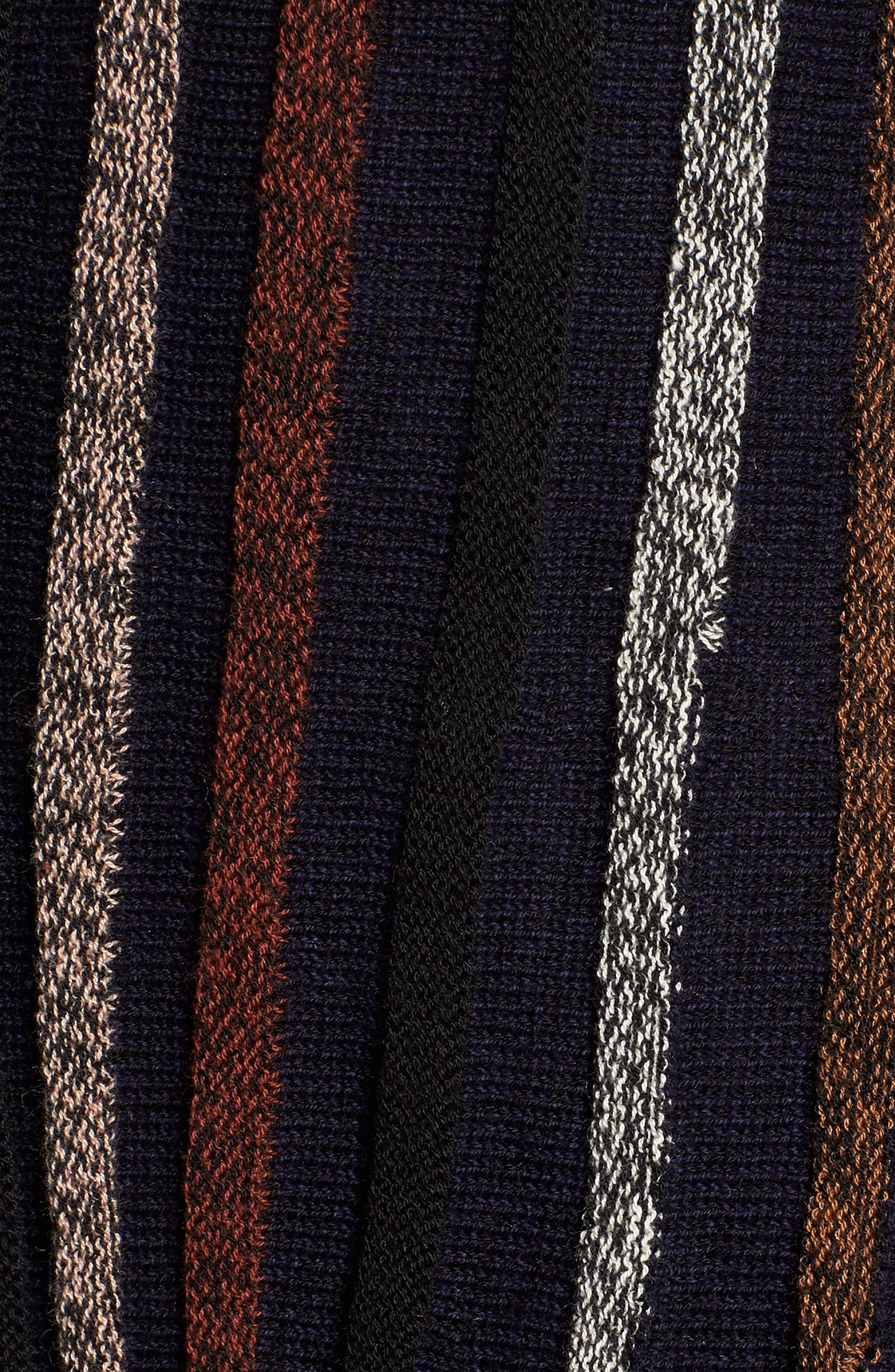 Contrast Ribbed Long Cardigan,                             Alternate thumbnail 5, color,                             Black Multi