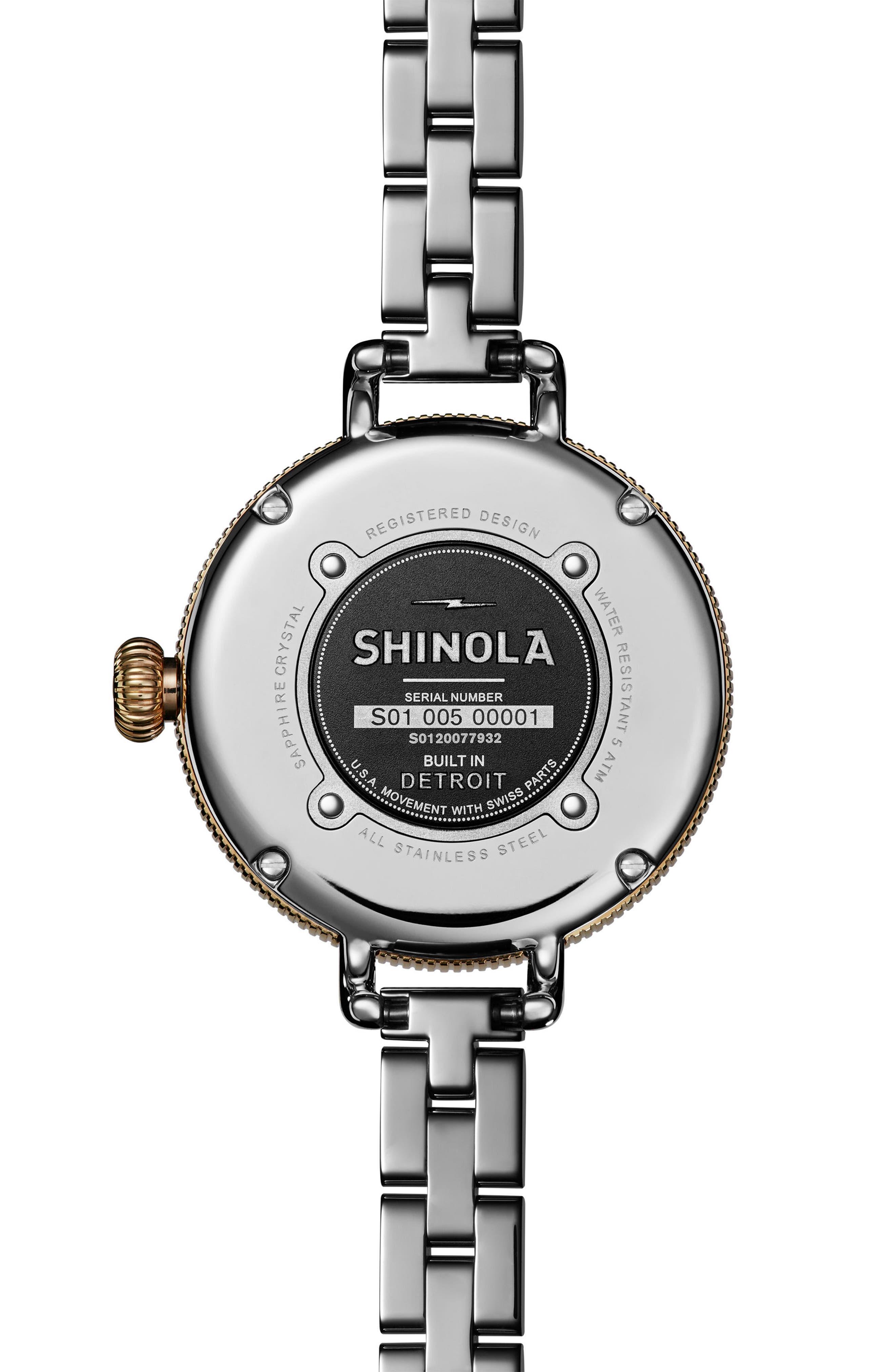 'The Birdy' Bracelet Watch, 34mm,                             Alternate thumbnail 3, color,                             Silver/ Bedrock Mop/ Gold