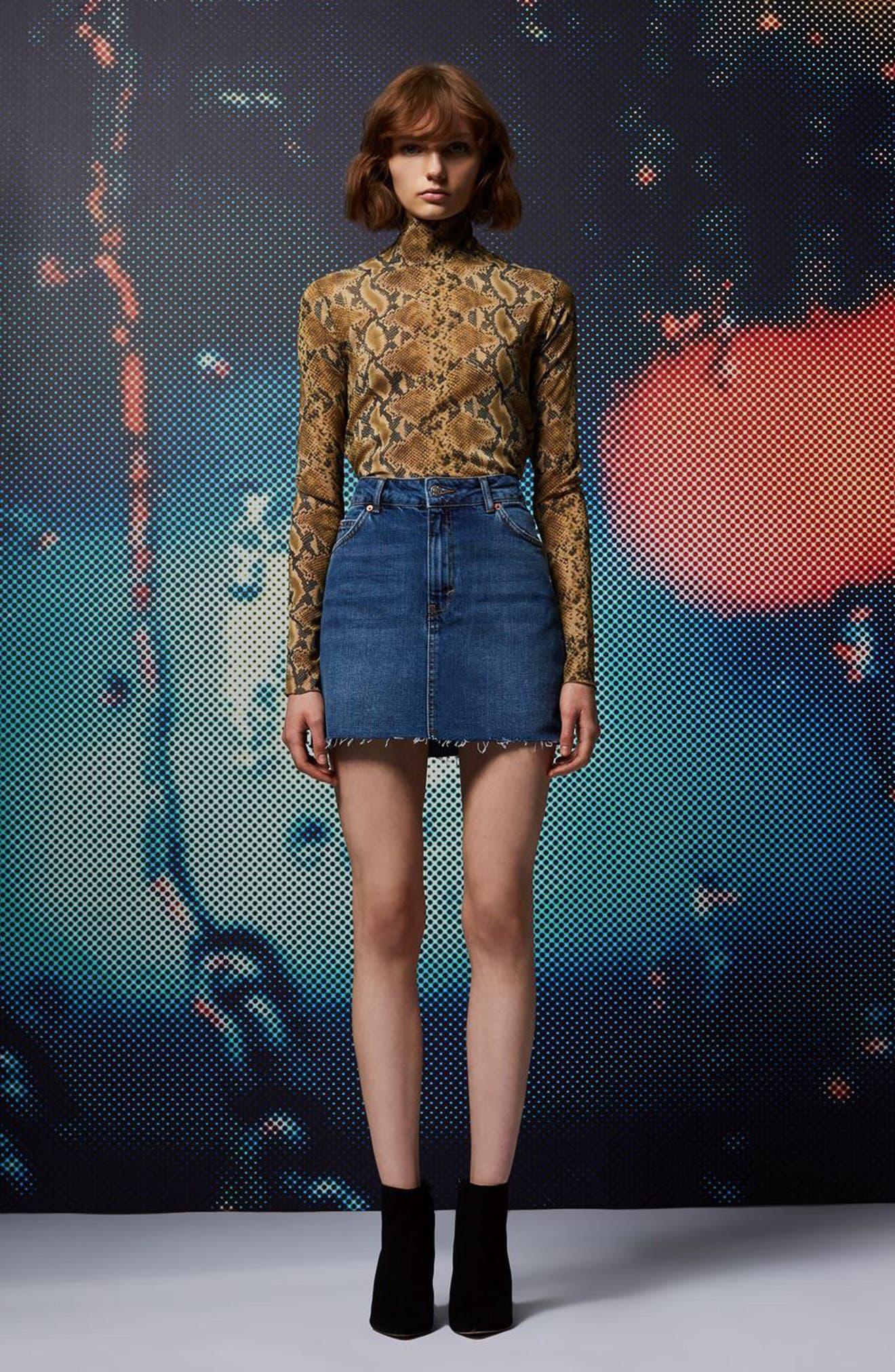 Frayed Hem Denim Miniskirt,                             Alternate thumbnail 4, color,                             Mid Denim