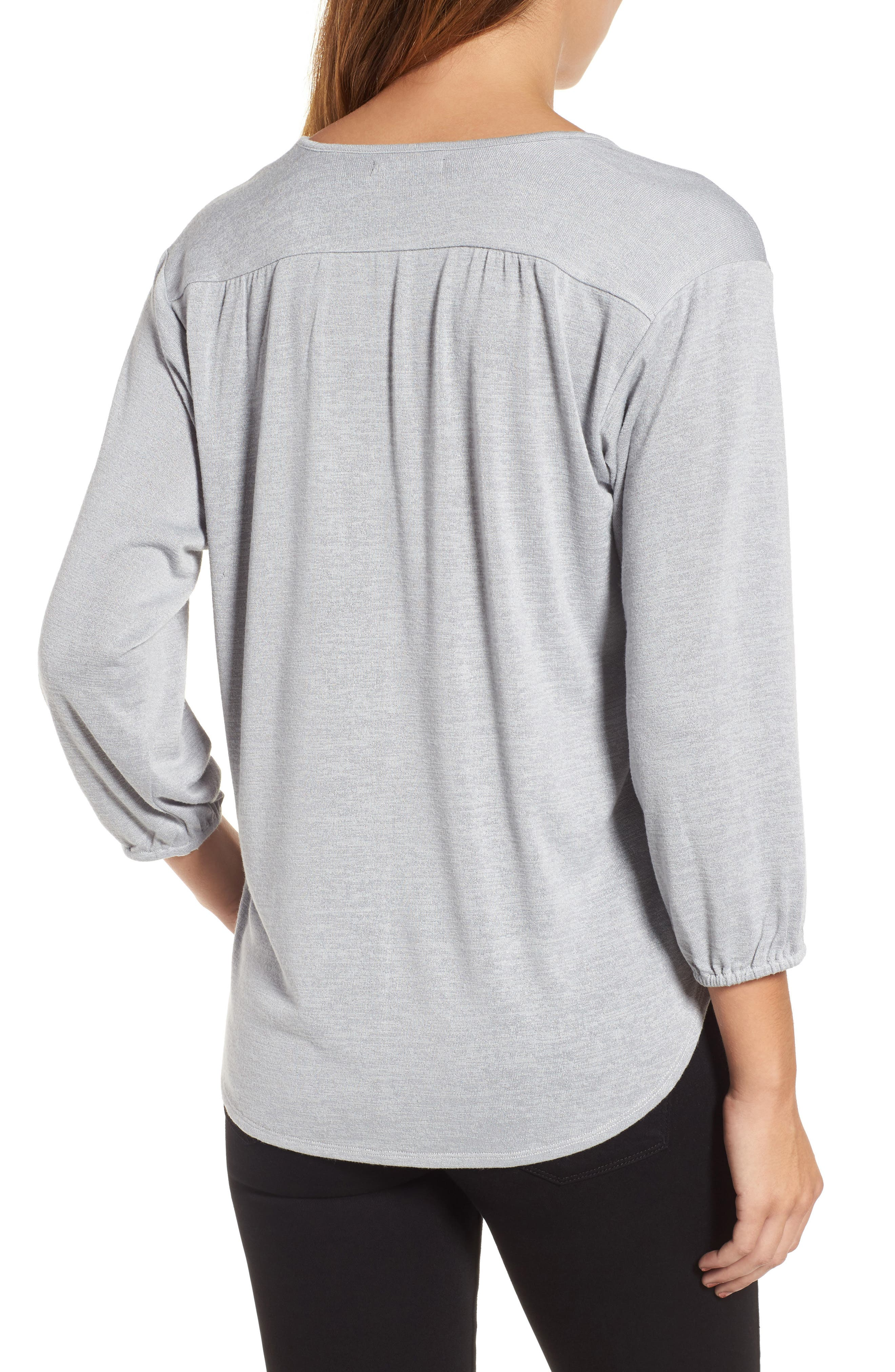 Snowfall Stretch Knit Top,                             Alternate thumbnail 2, color,                             Icy Grey