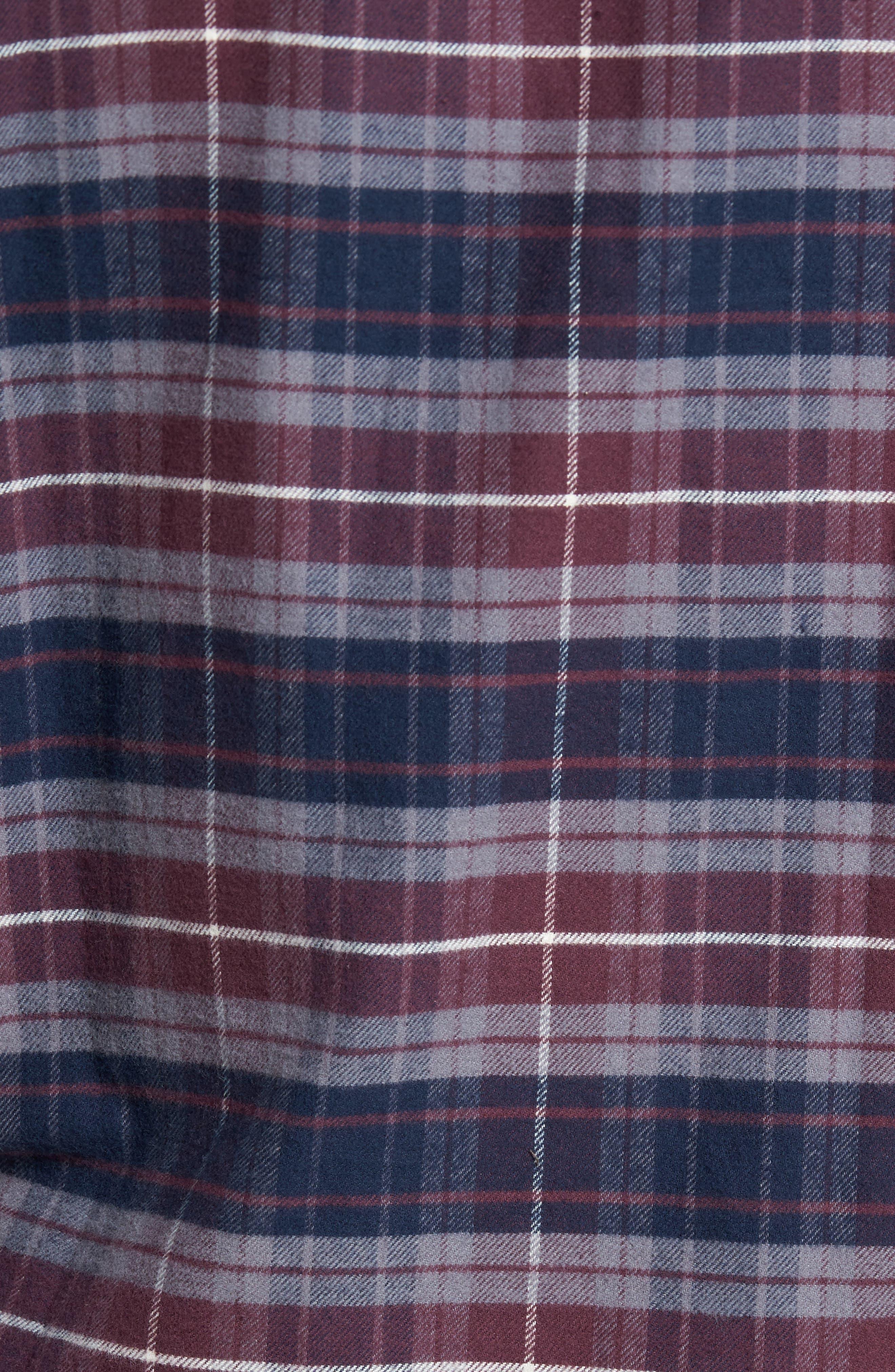 Plaid Flannel Sport Shirt,                             Alternate thumbnail 5, color,                             Raspberry Fudge Trail Plaid