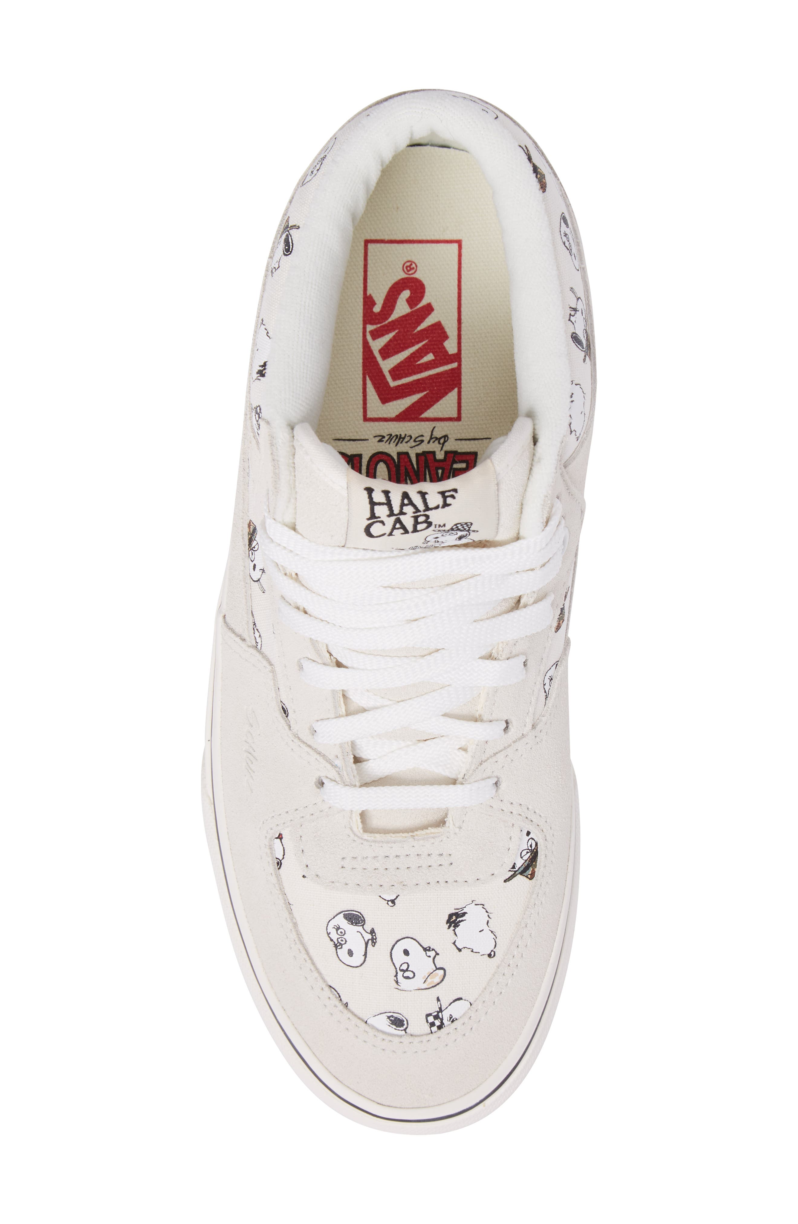 x Peanuts<sup>®</sup> Half Cab Sneaker,                             Alternate thumbnail 5, color,                             Marshmallow Canvas/Suede