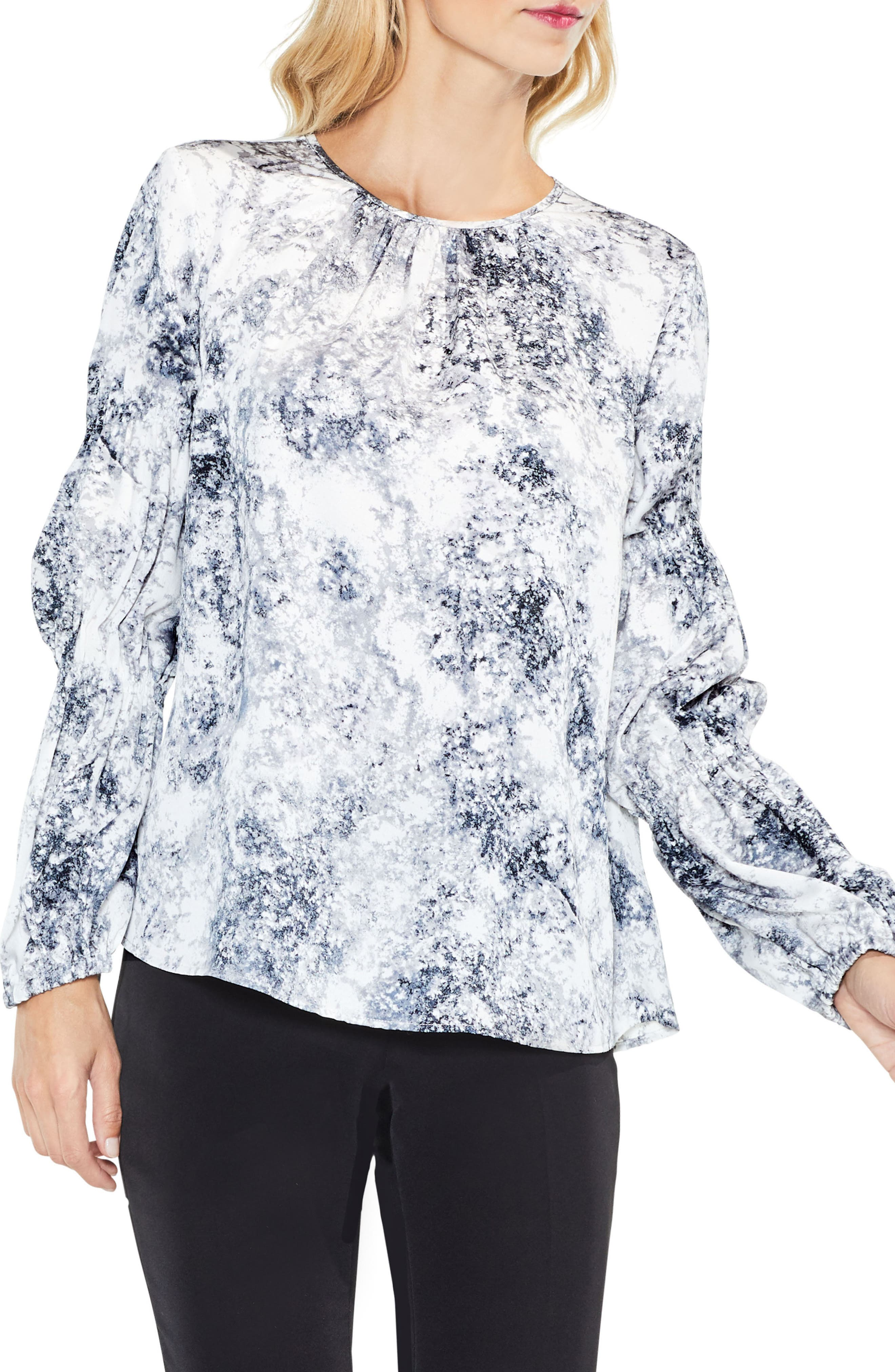 Speckled Cinch Sleeve Top,                         Main,                         color, Antique White