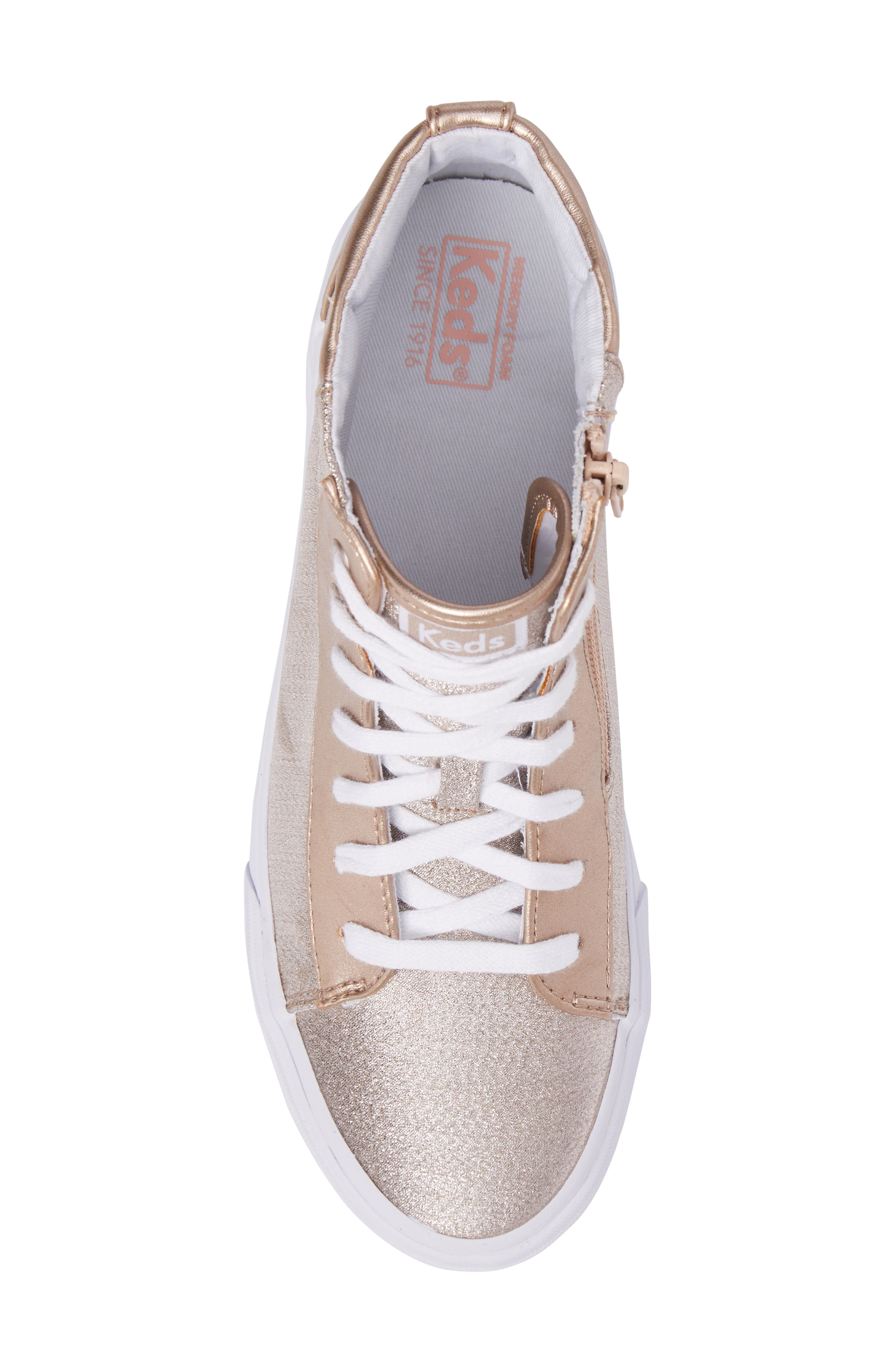 Double Up High Top Sneaker,                             Alternate thumbnail 5, color,                             Rose Gold