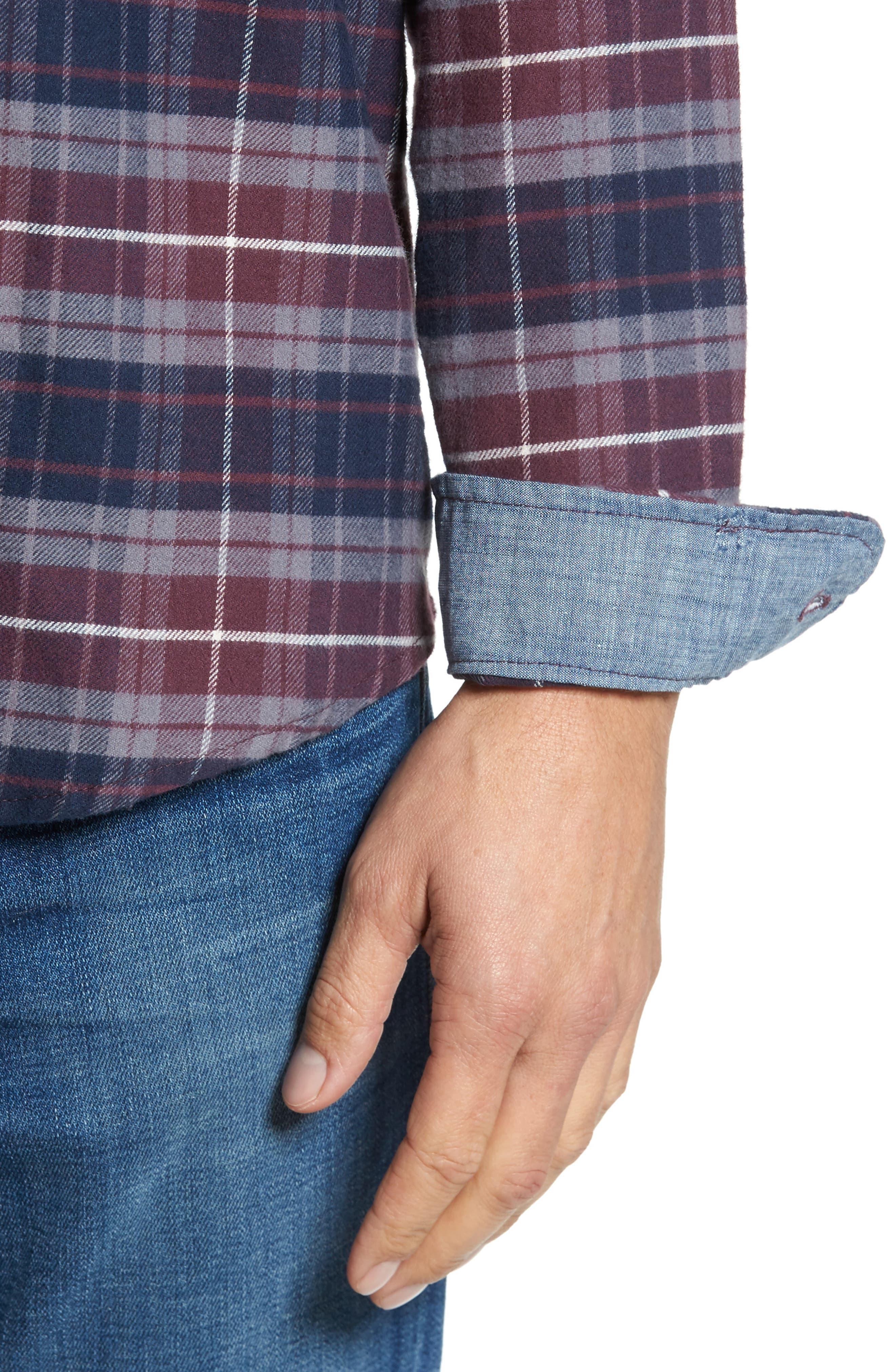 Plaid Flannel Sport Shirt,                             Alternate thumbnail 4, color,                             Raspberry Fudge Trail Plaid